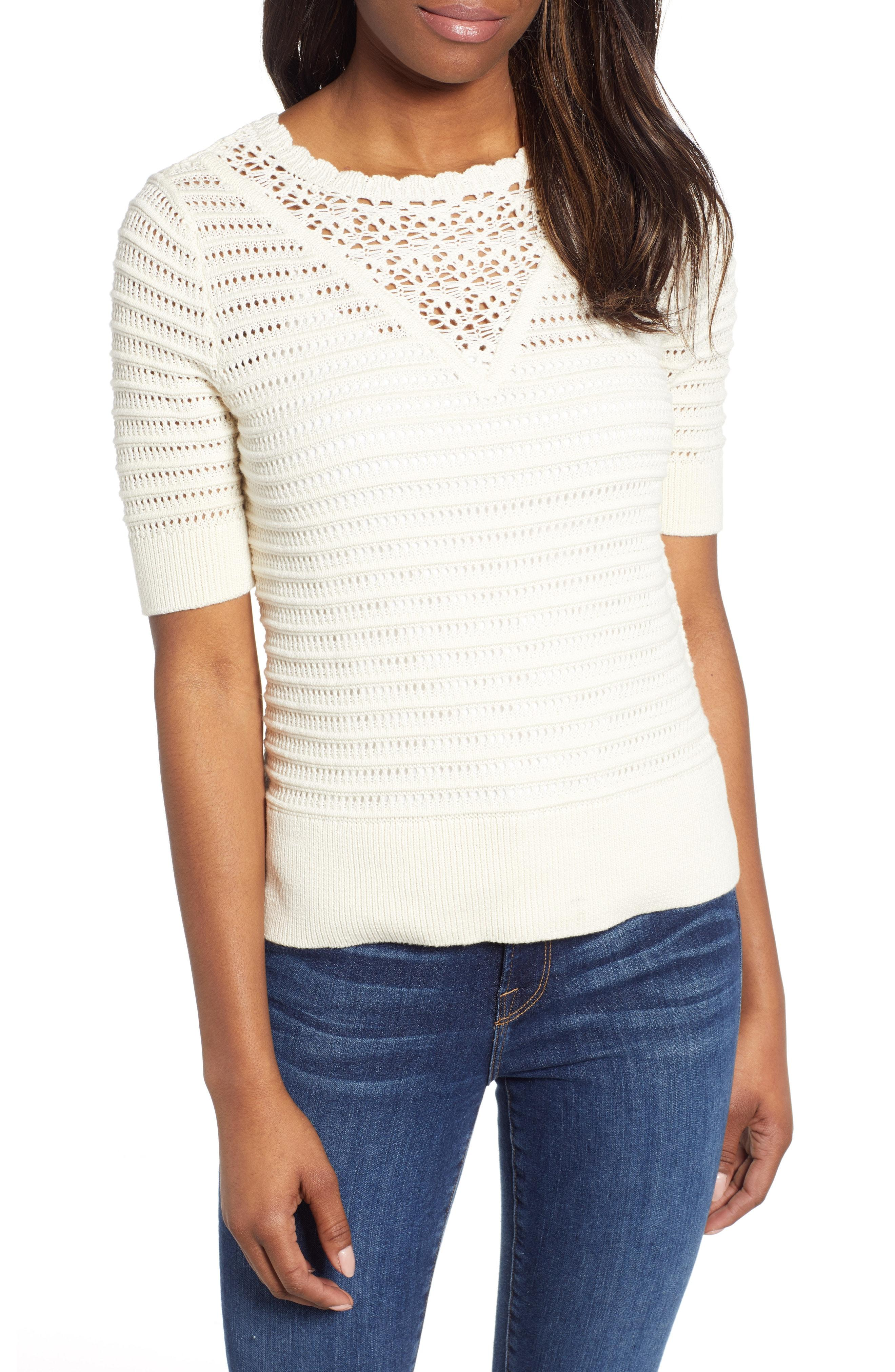 3334f22fc3fc2 Lyst - Lucky Brand Crochet Pointelle Sweater in White