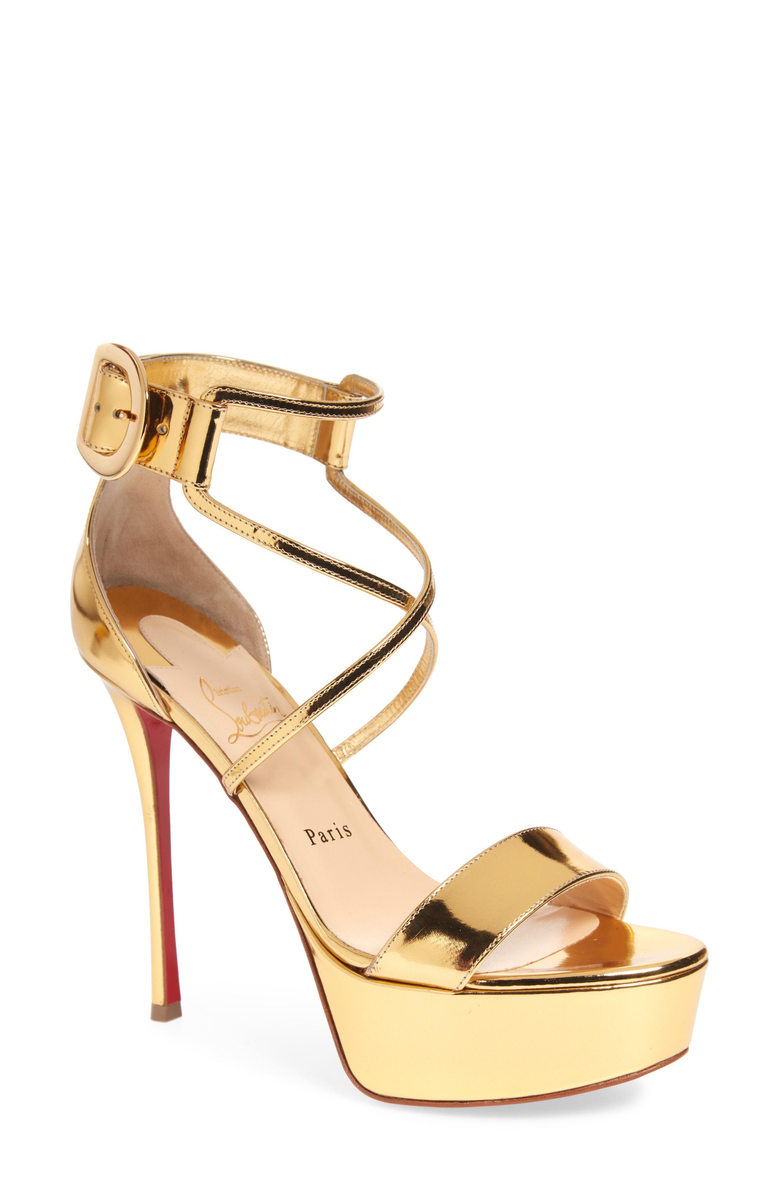 d309b2515a08 Lyst - Christian Louboutin Choca Platform Sandal in Metallic