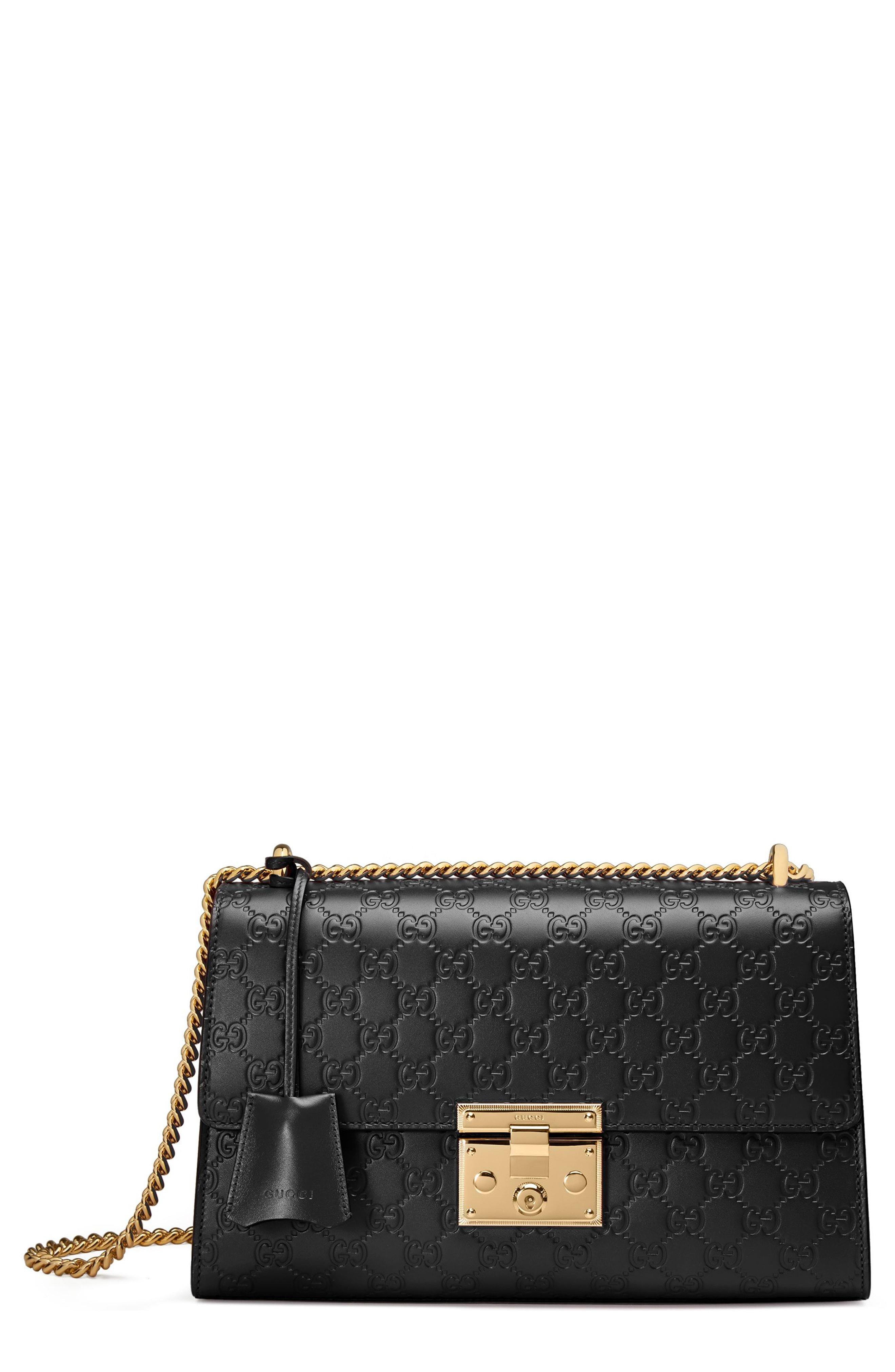 a4ca721bef8 Gucci - Black Medium Padlock Signature Leather Shoulder Bag - - Lyst. View  fullscreen
