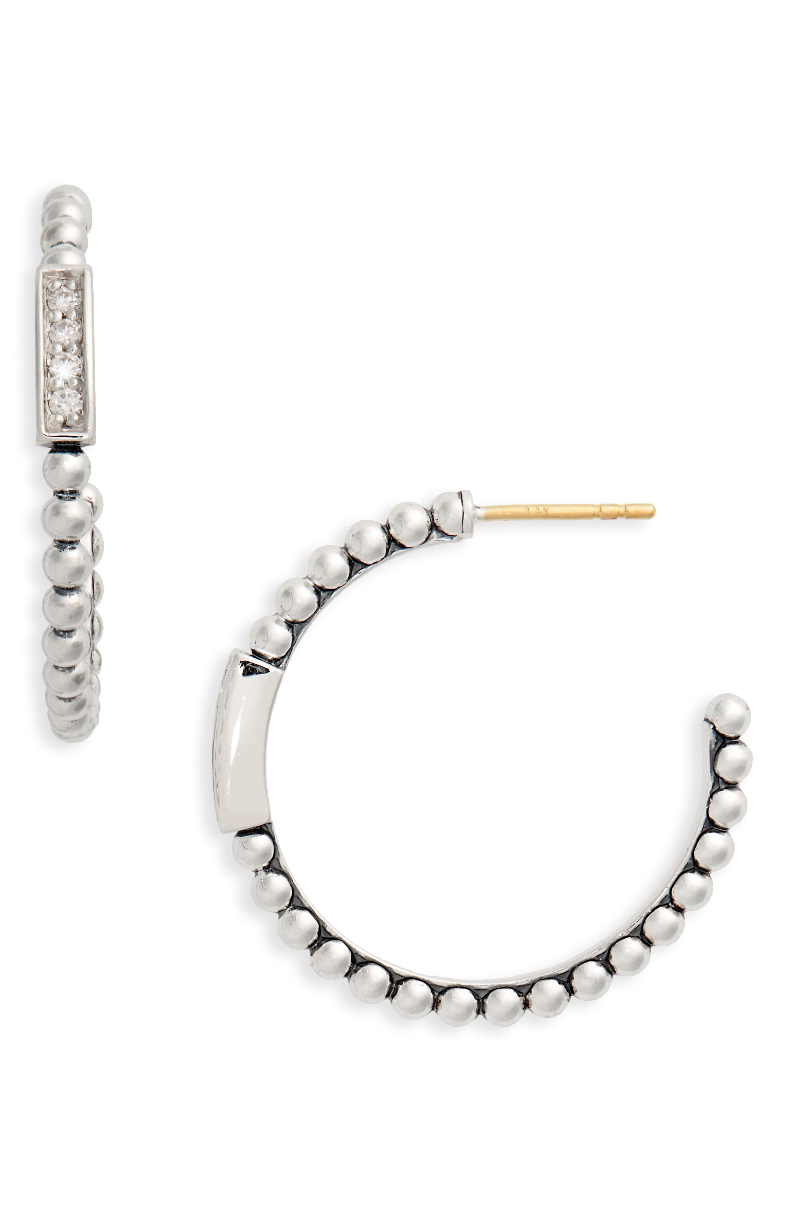 b9c58cb55 Lyst - Lagos Caviar Spark Diamond Hoop Earrings in Metallic