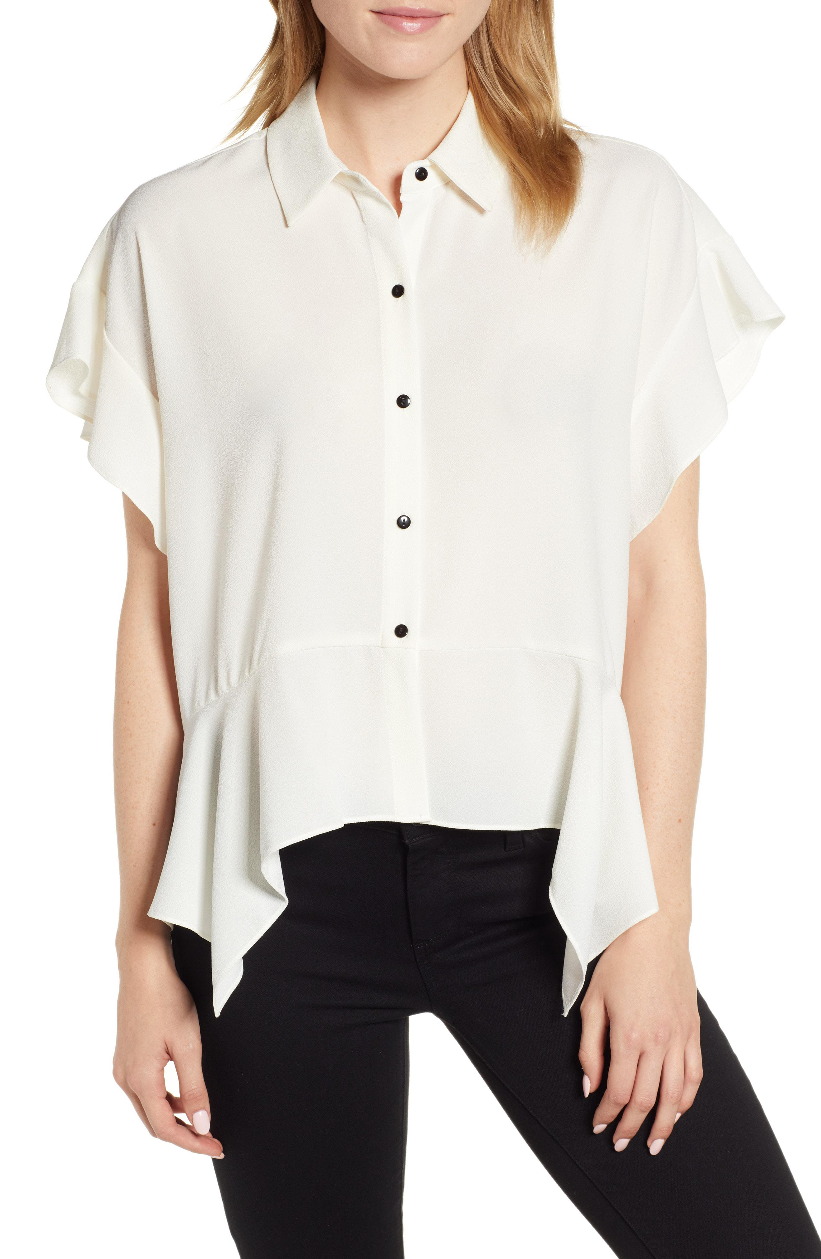 f3c70aac2f3ab Lyst - 1.State Button Up High low Blouse in White