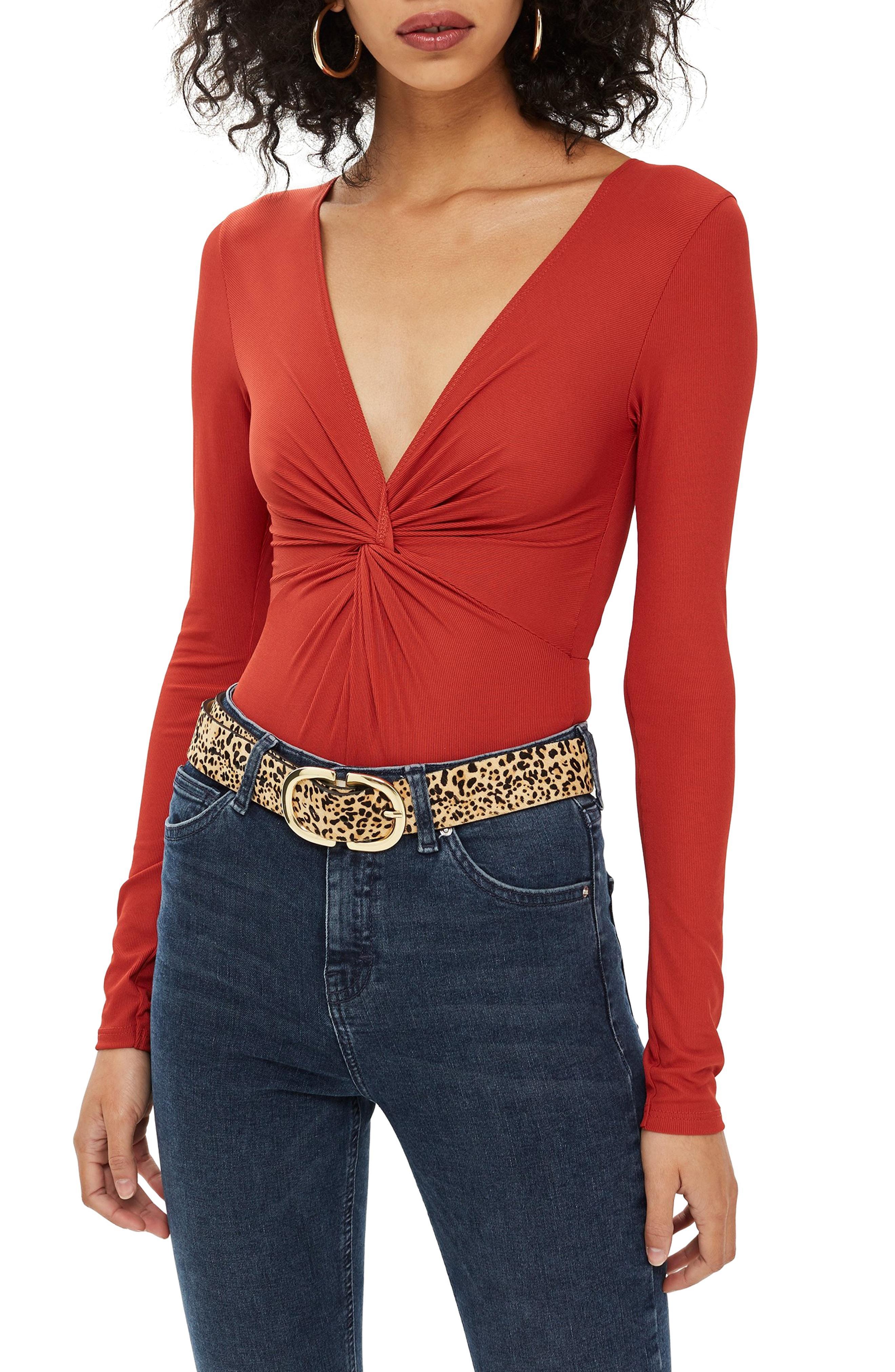 6ea39710f7 Lyst - TOPSHOP Twist Bodysuit in Red