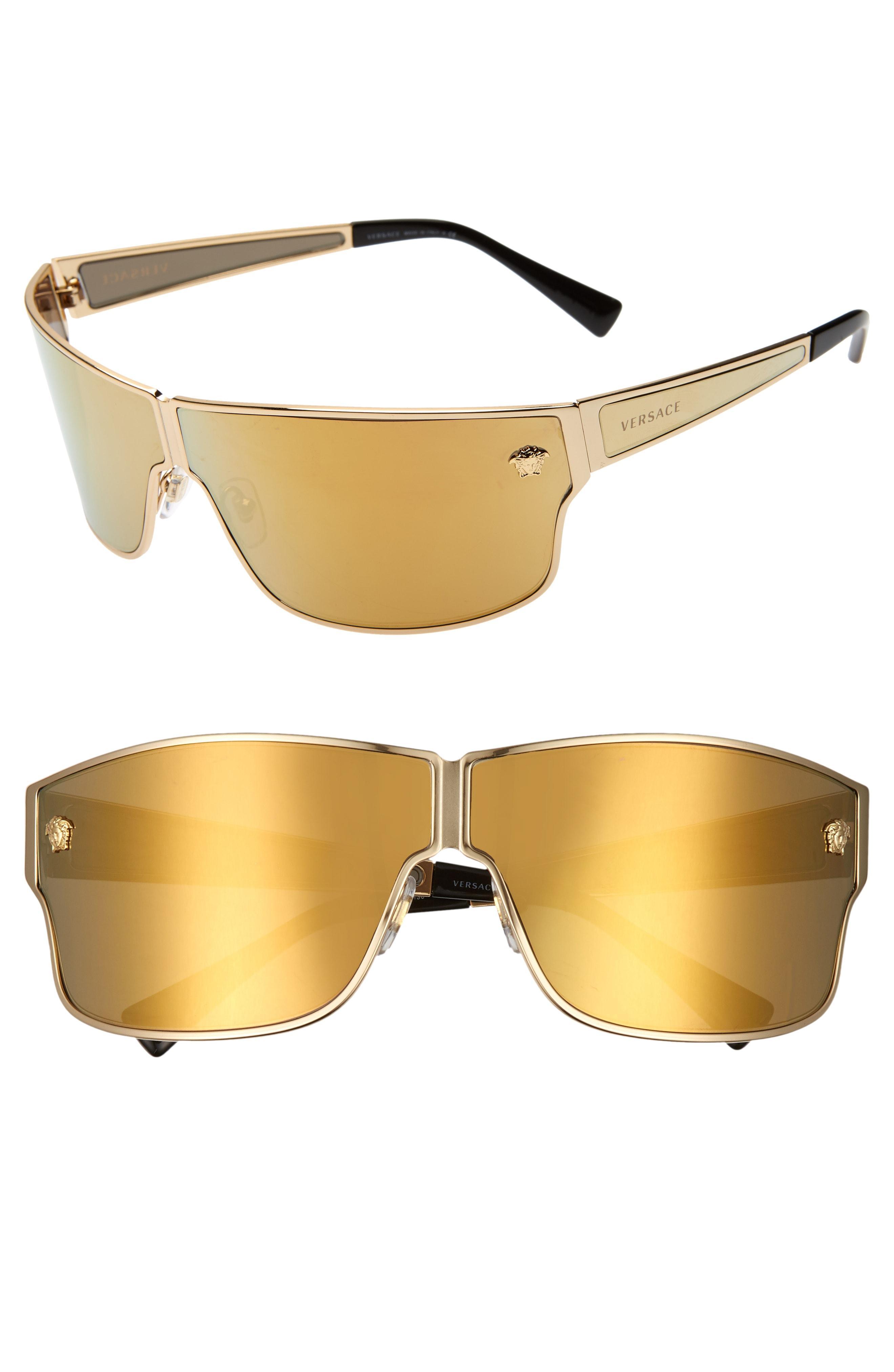 5a6d91b7236 Versace - Metallic Medusa 72mm Mirrored Shield Sunglasses - Lyst. View  fullscreen
