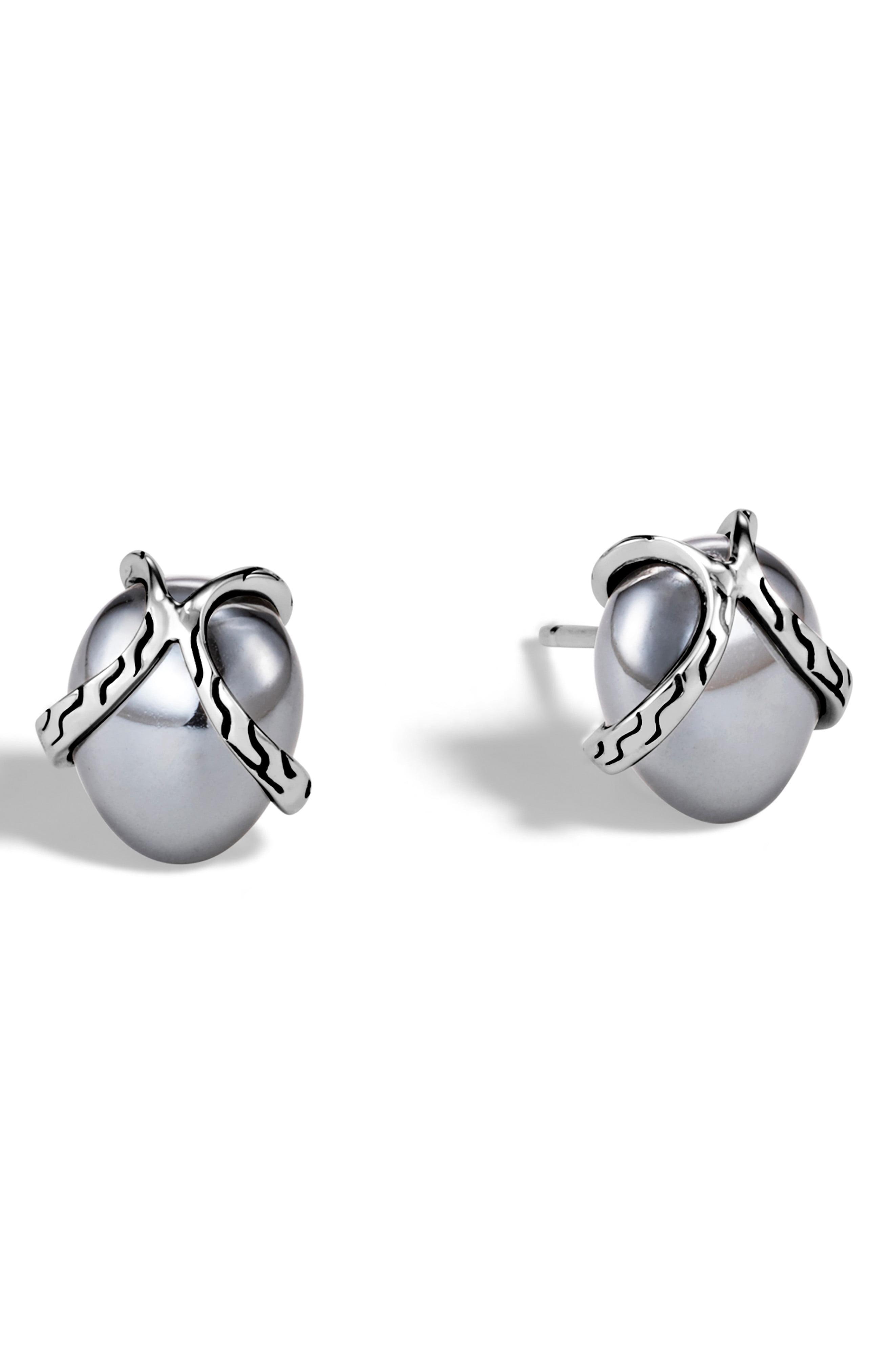 dae42f40b Lyst - John Hardy Classic Chain Hematite Stud Earrings in Metallic