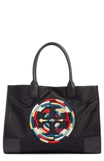 76d0b340658 Lyst - Tory Burch Ella Embroidered Logo Nylon Tote in Black