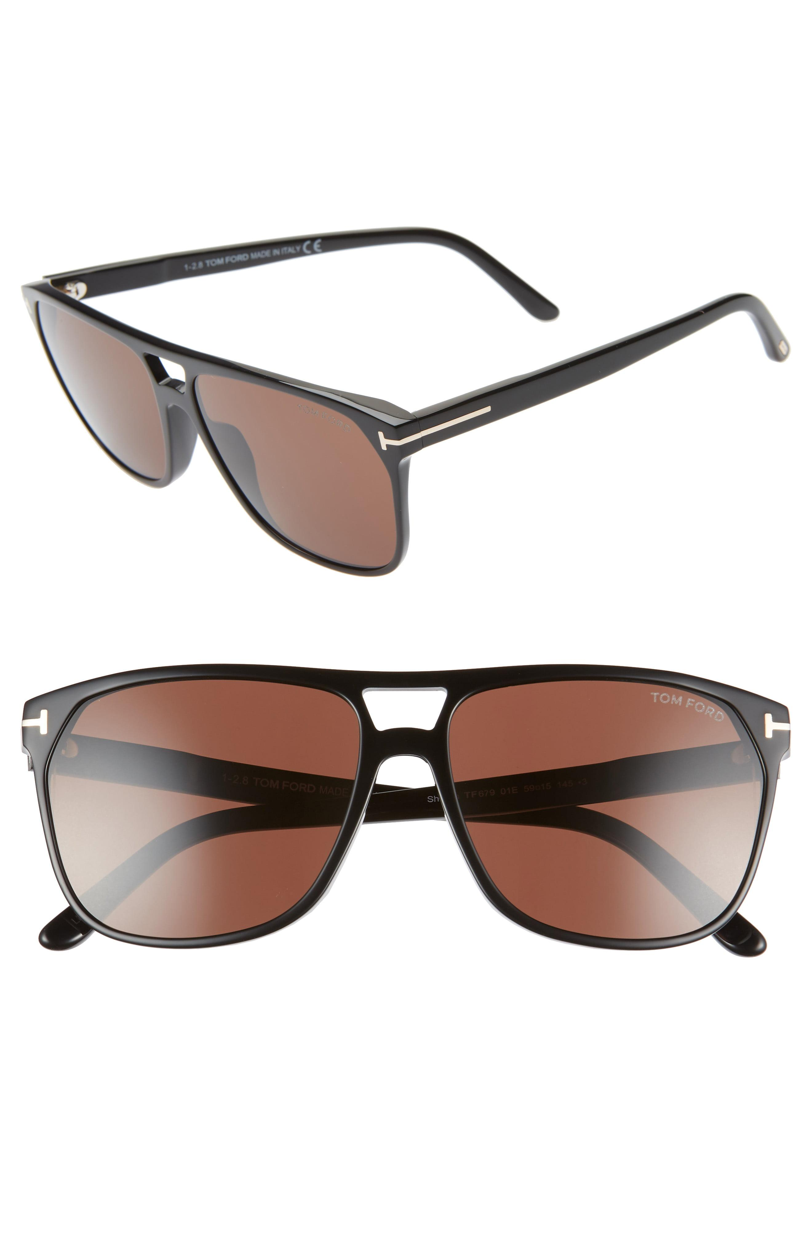b205e595f61e Tom Ford - Shelton 59mm Sunglasses - Shiny Black  Brown - Lyst. View  fullscreen