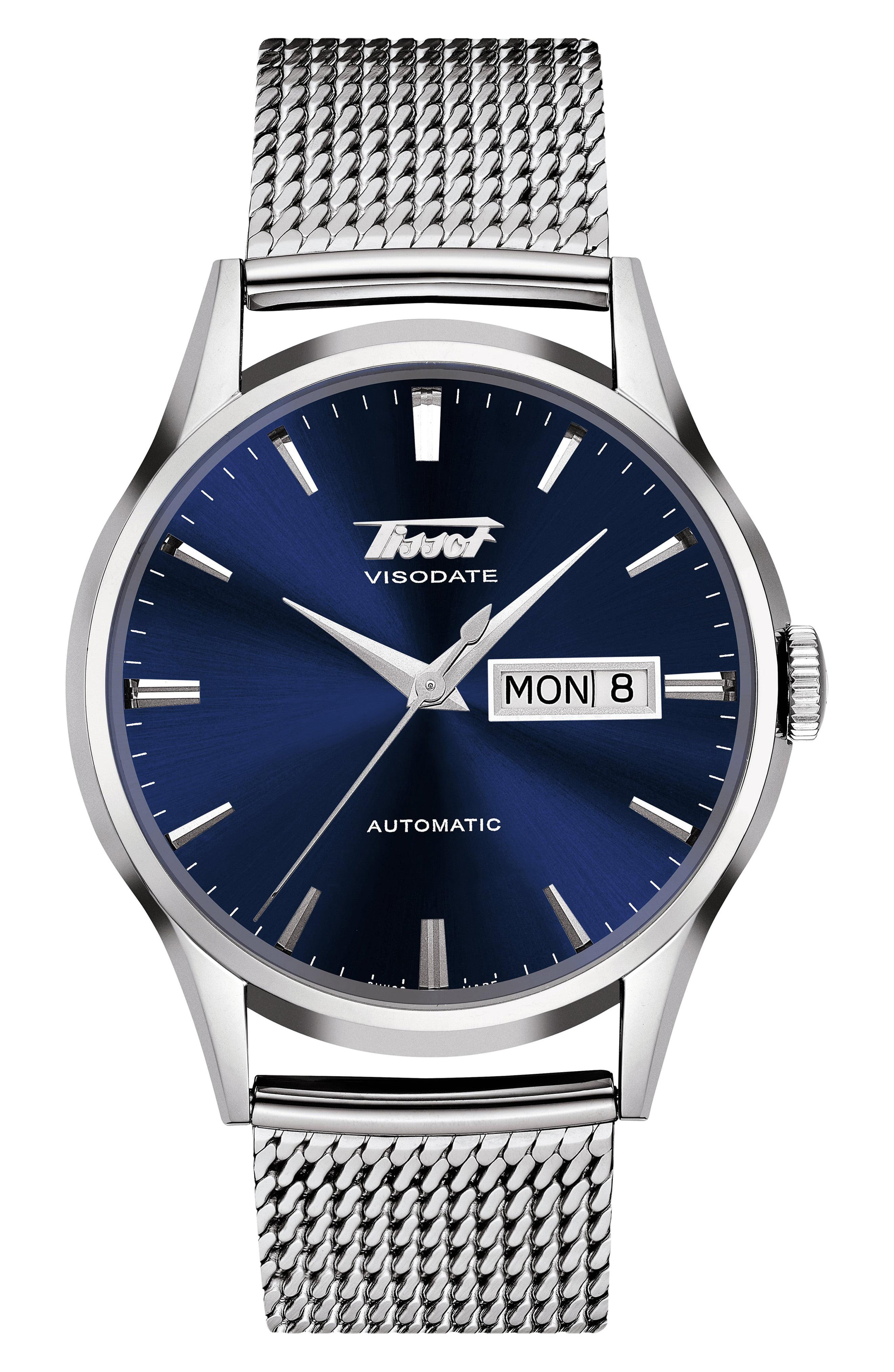 aab2547fc6f Lyst - Tissot Heritage Visodate Automatic Mesh Strap Watch in Blue ...