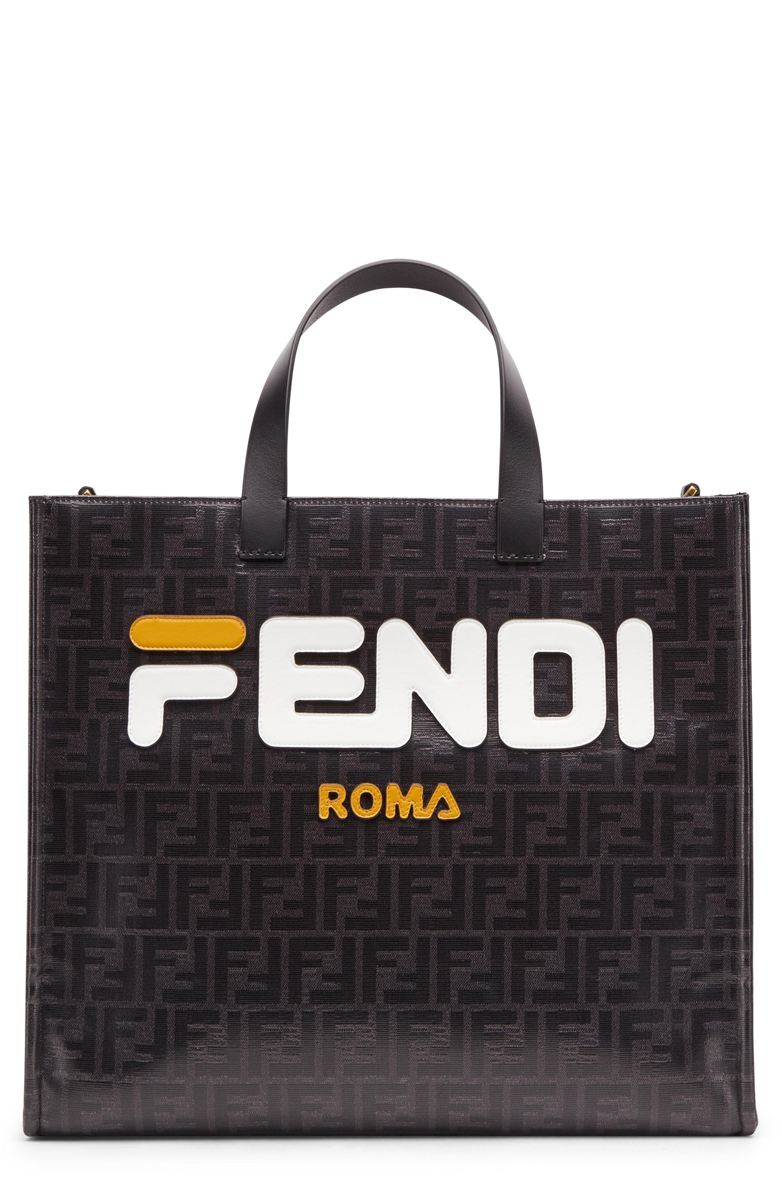 101961ecc16a Lyst - Fendi X Fila Mania Logo Tess Shopper in Black