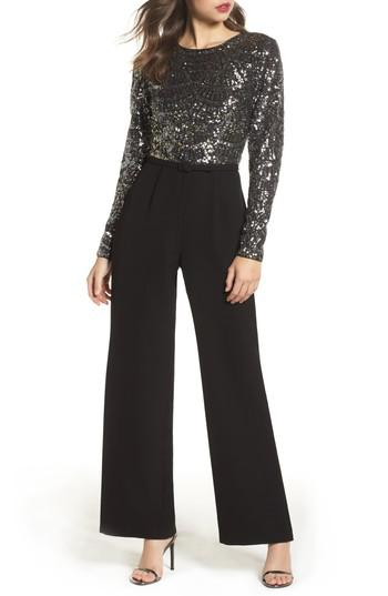 ab202b3753ab Lyst - Vince Camuto Belted Sequin   Crepe Jumpsuit in Black