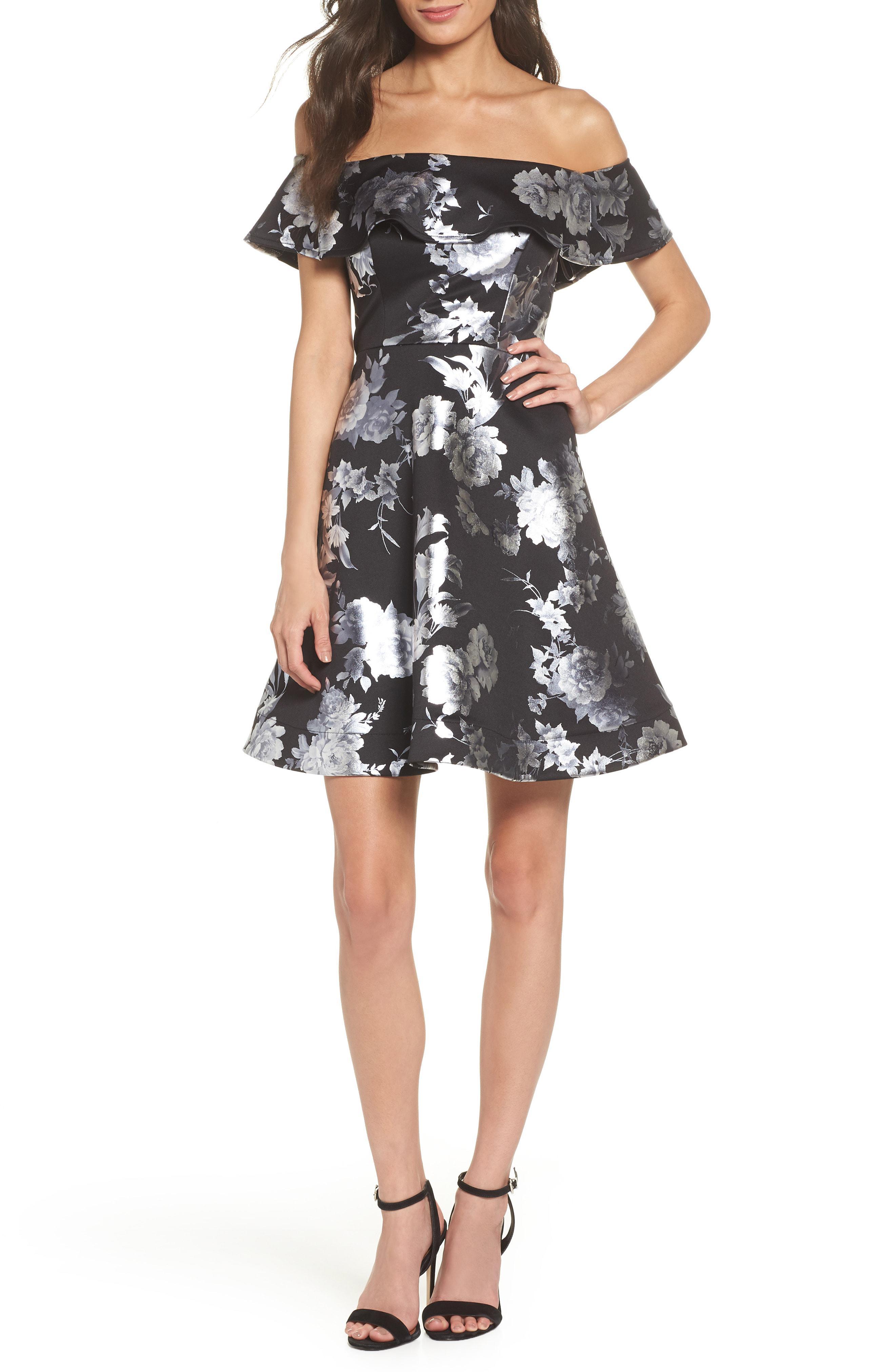 908e6ead45b30 Sequin Hearts Off The Shoulder Foil Scuba Fit & Flare Dress in Black ...