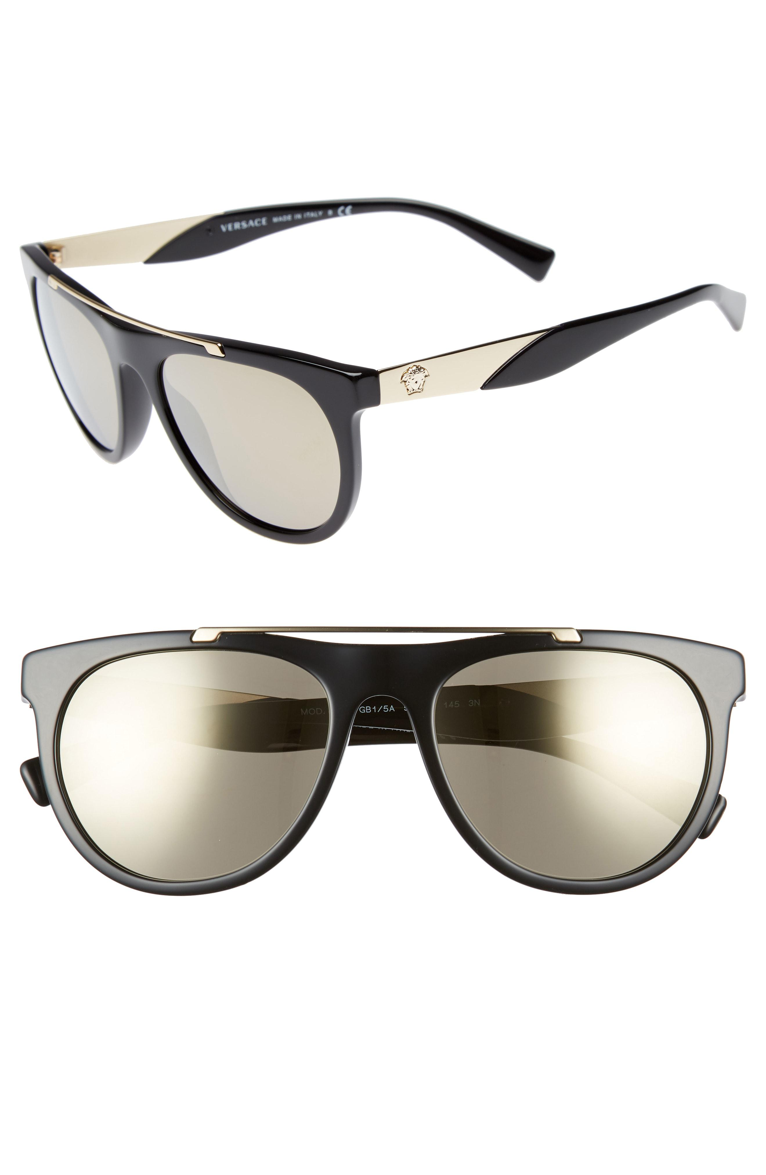 c1093dd39 Lyst - Versace Medusa 56mm Brow Bar Sunglasses - in Gray