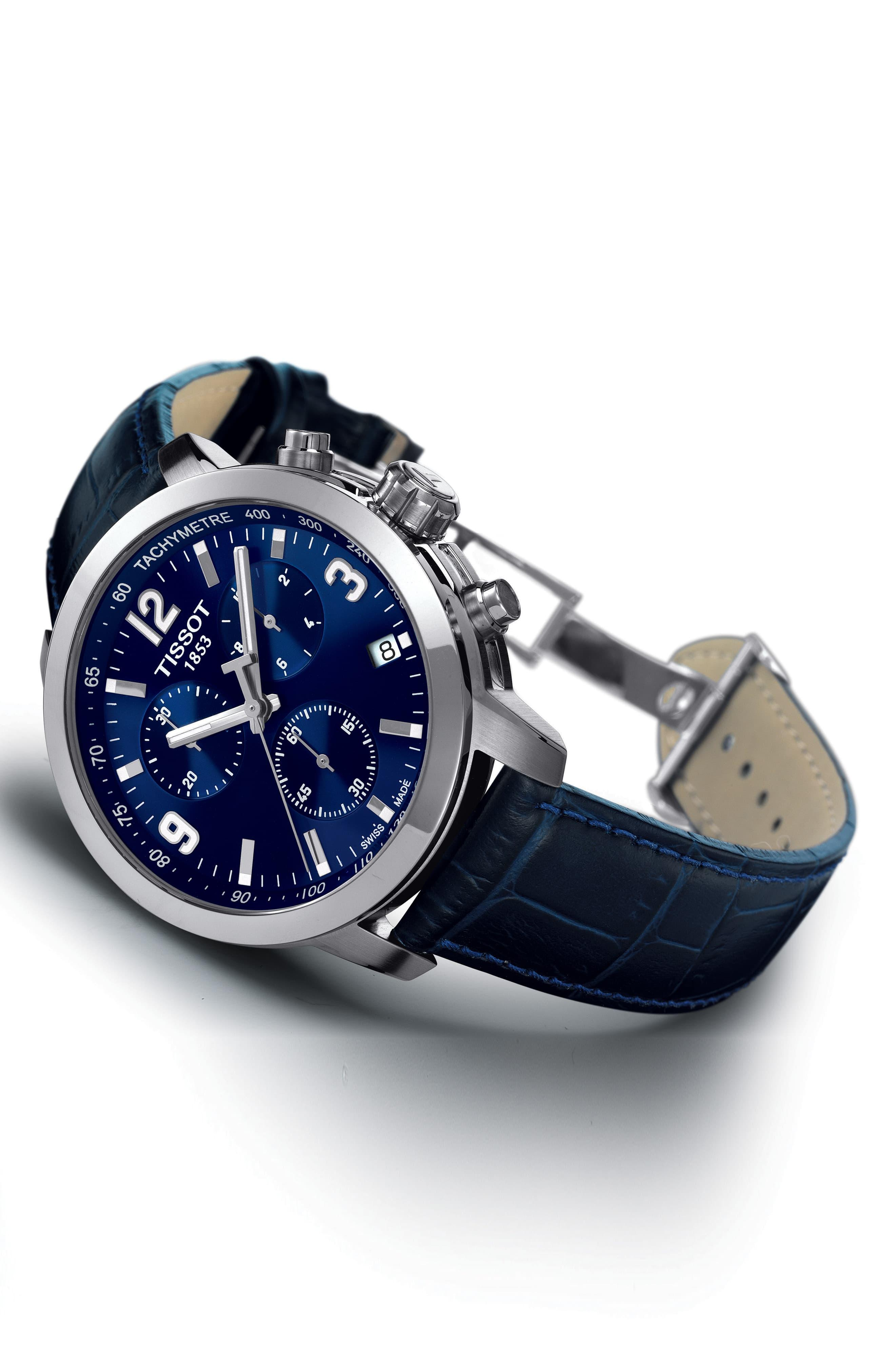 bf59db165 Tissot - Blue Prc200 Chronograph Leather Strap Watch - Lyst. View fullscreen