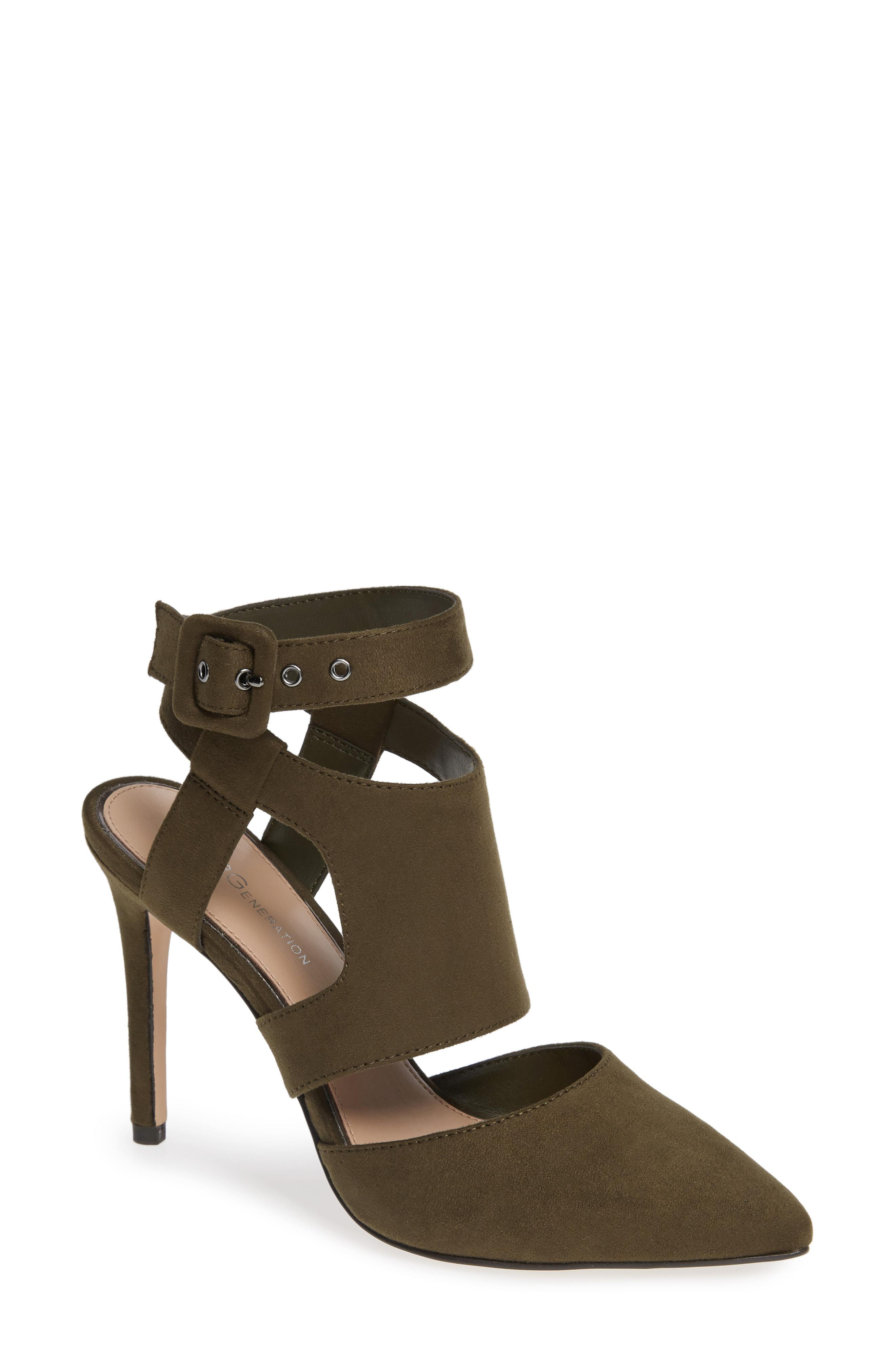f97e552b1be Lyst - Bcbgmaxazria Heather Pointy Toe Ankle Strap Pump in Green