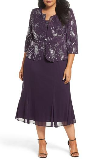 87a212eb1a0 Alex Evenings - Purple Sequin Mock Two-piece Dress With Jacket - Lyst