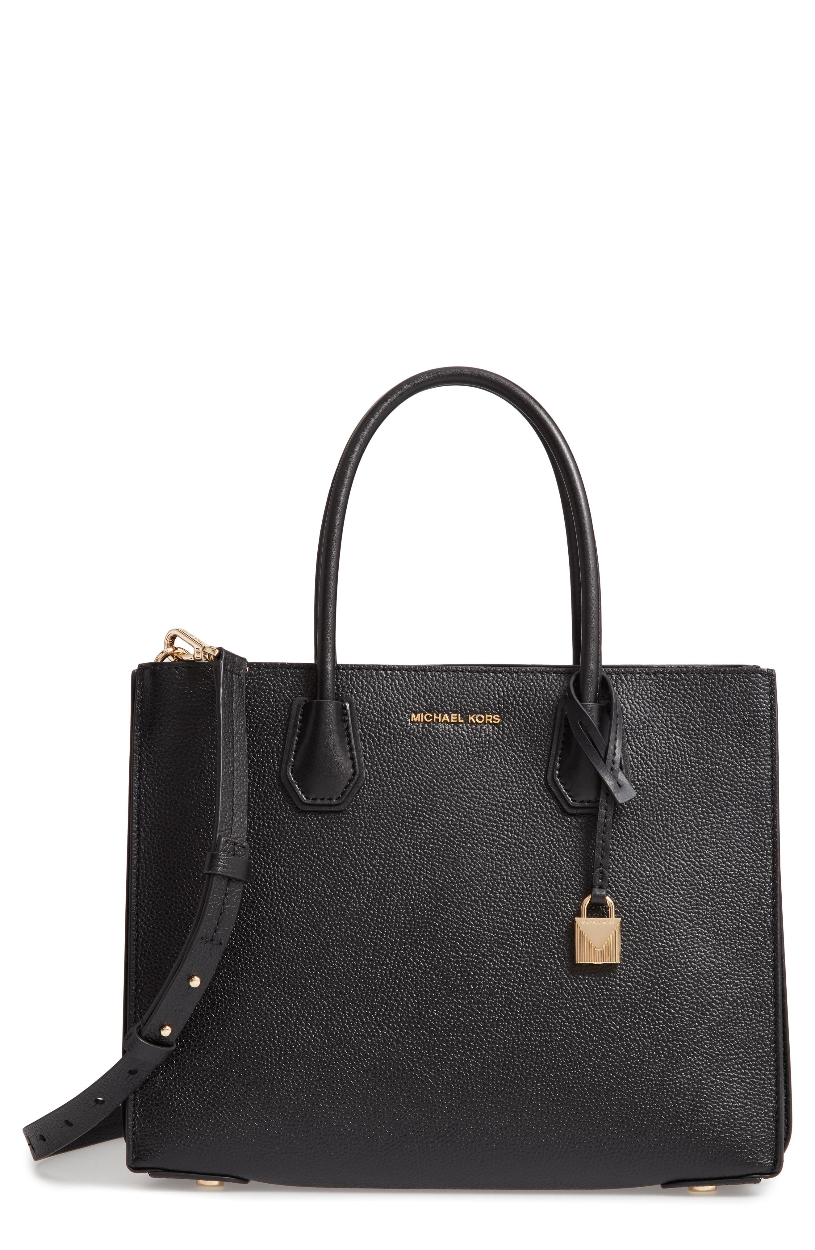 9b733d2e28c1 Lyst - MICHAEL Michael Kors Large Mercer Leather Tote in Black