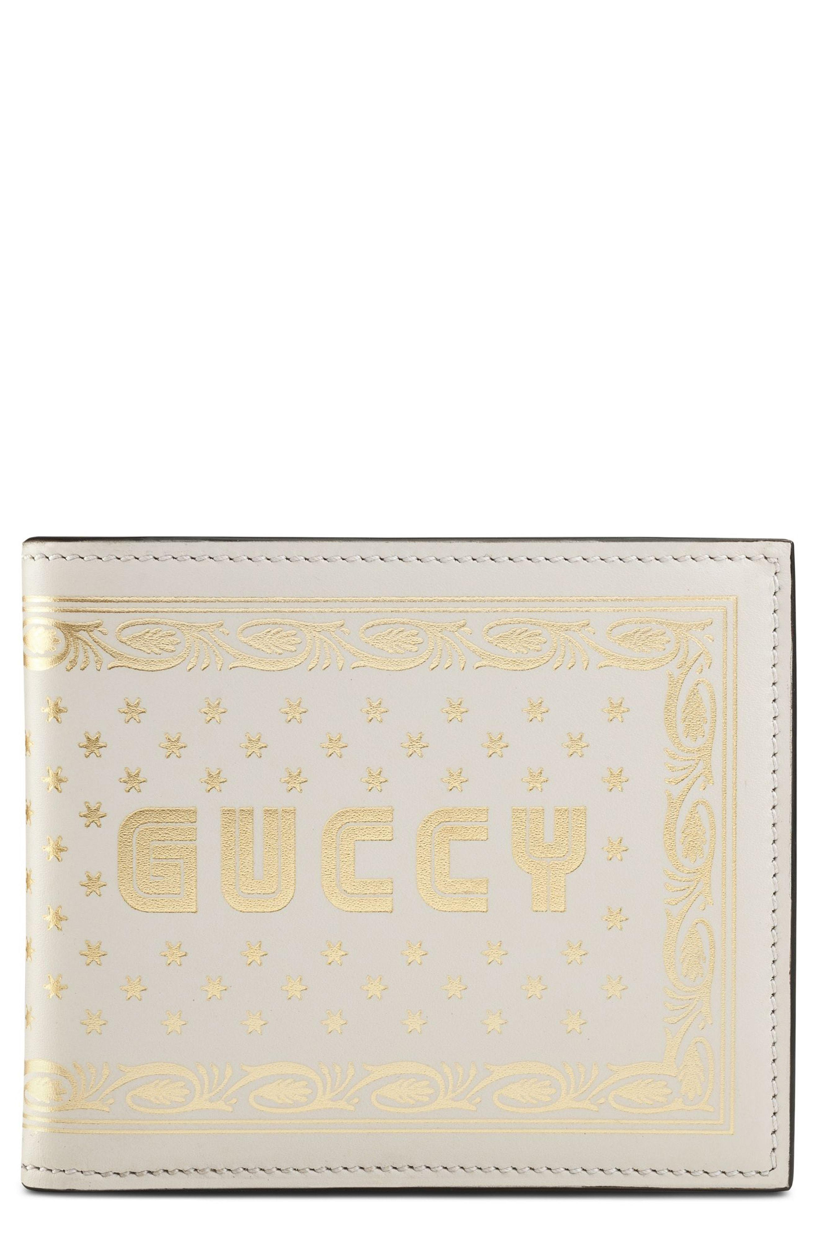9ac89752445f Lyst - Gucci Guccy Print Leather Wallet in Yellow for Men
