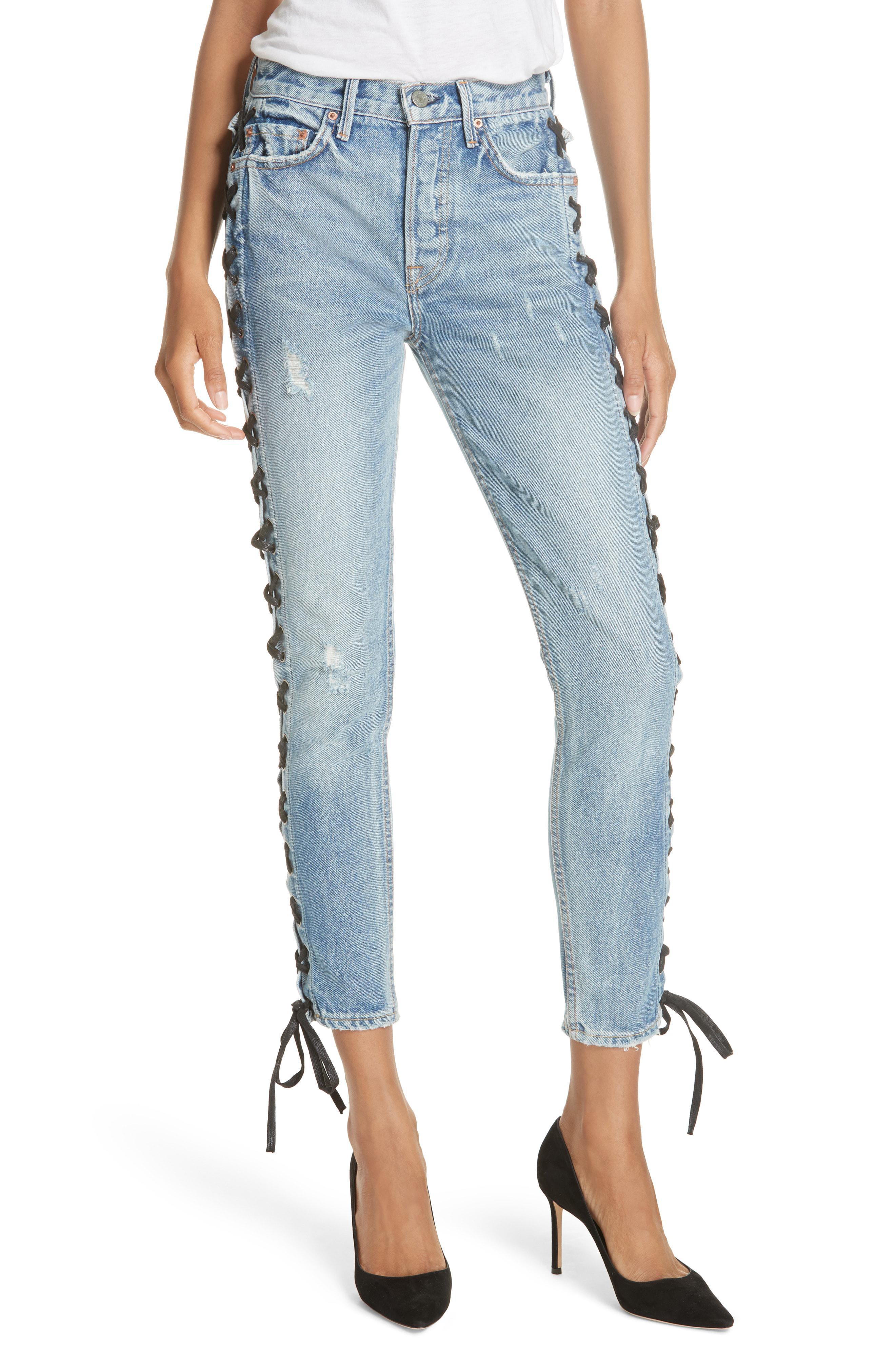 a53520c03c9 Lyst - GRLFRND Karolina High Waist Lace-up Crop Skinny Jeans in Blue