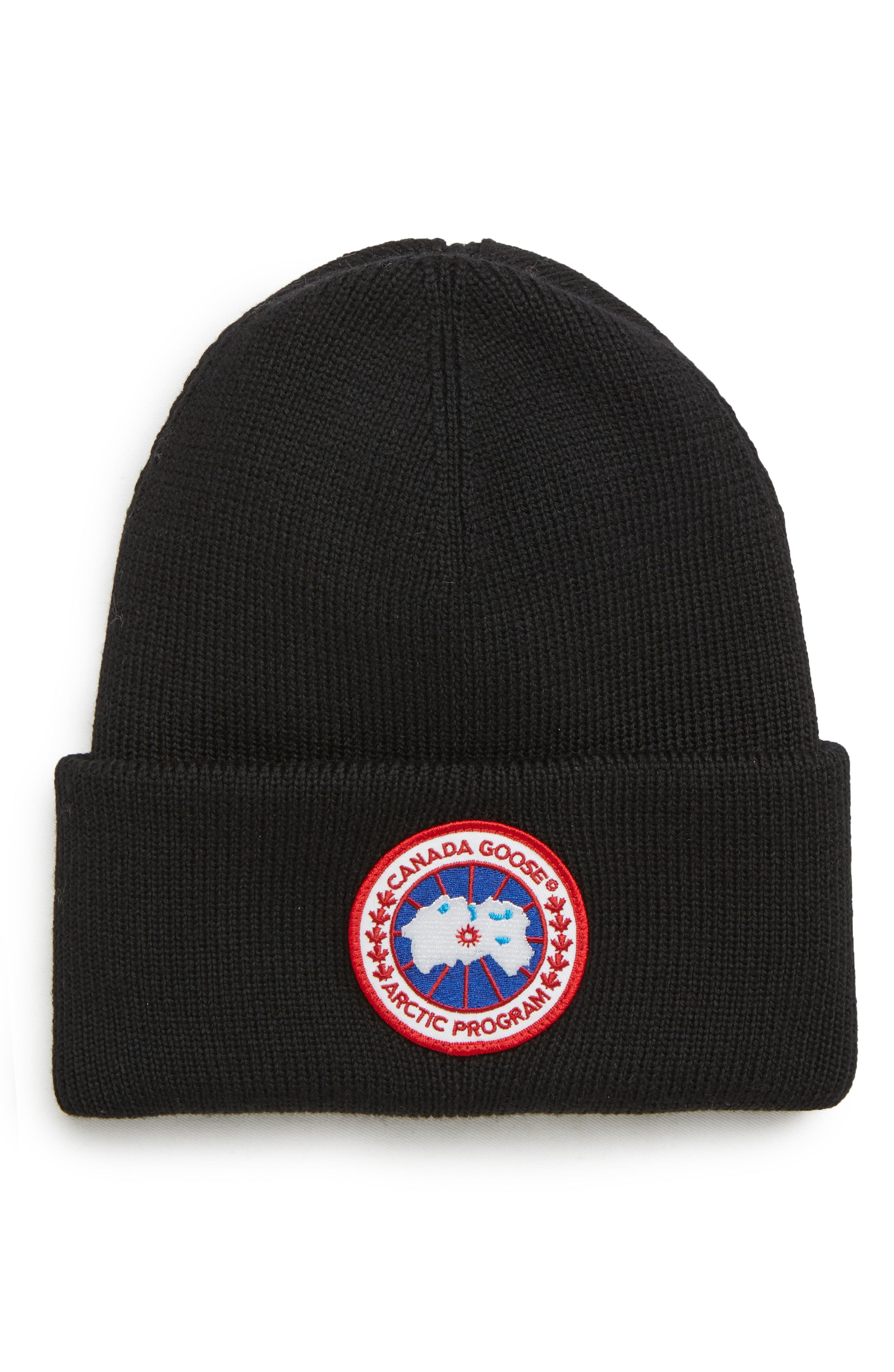5fb57060d5f Canada Goose - Black Arctic Disc Wool Beanie for Men - Lyst. View fullscreen