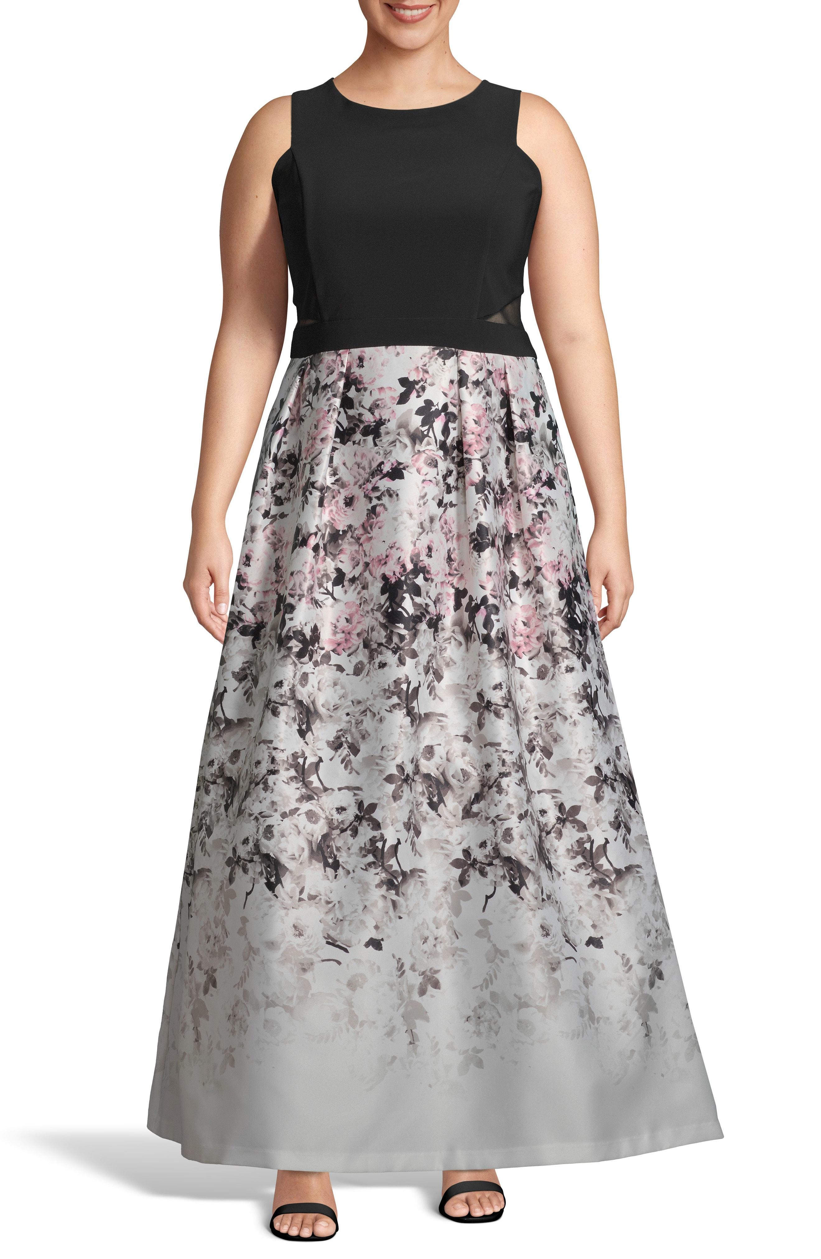 75f08fbe Lyst - Xscape Floral Skirt Gown in Black