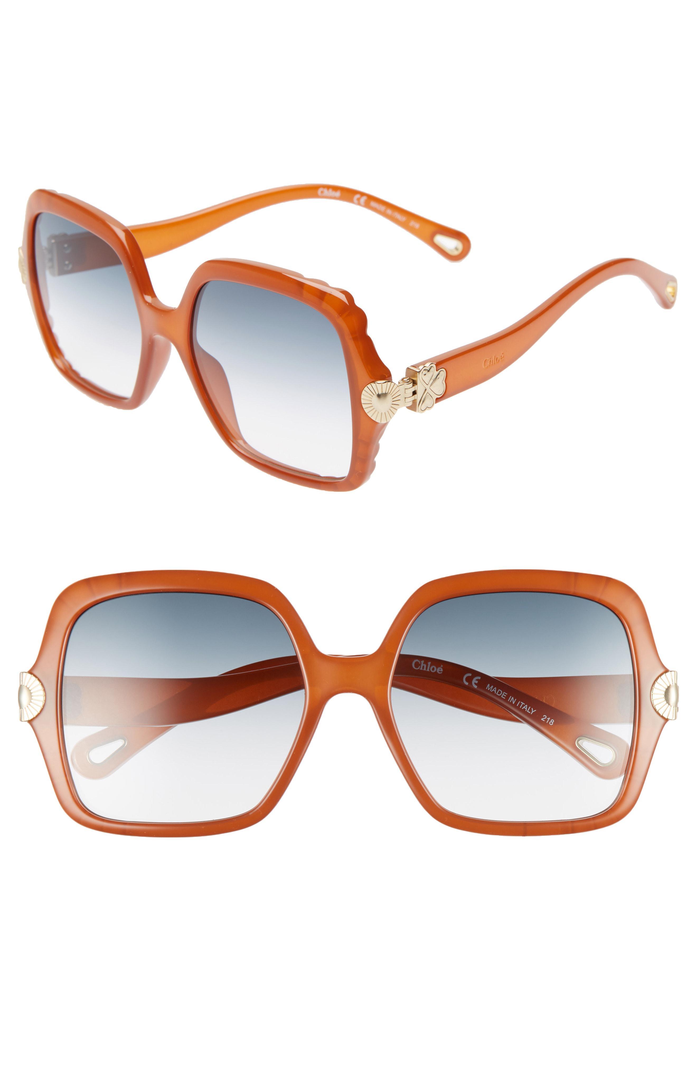 280e34392d2 Lyst - Chloé Vera 55mm Square Sunglasses - Brick in Blue