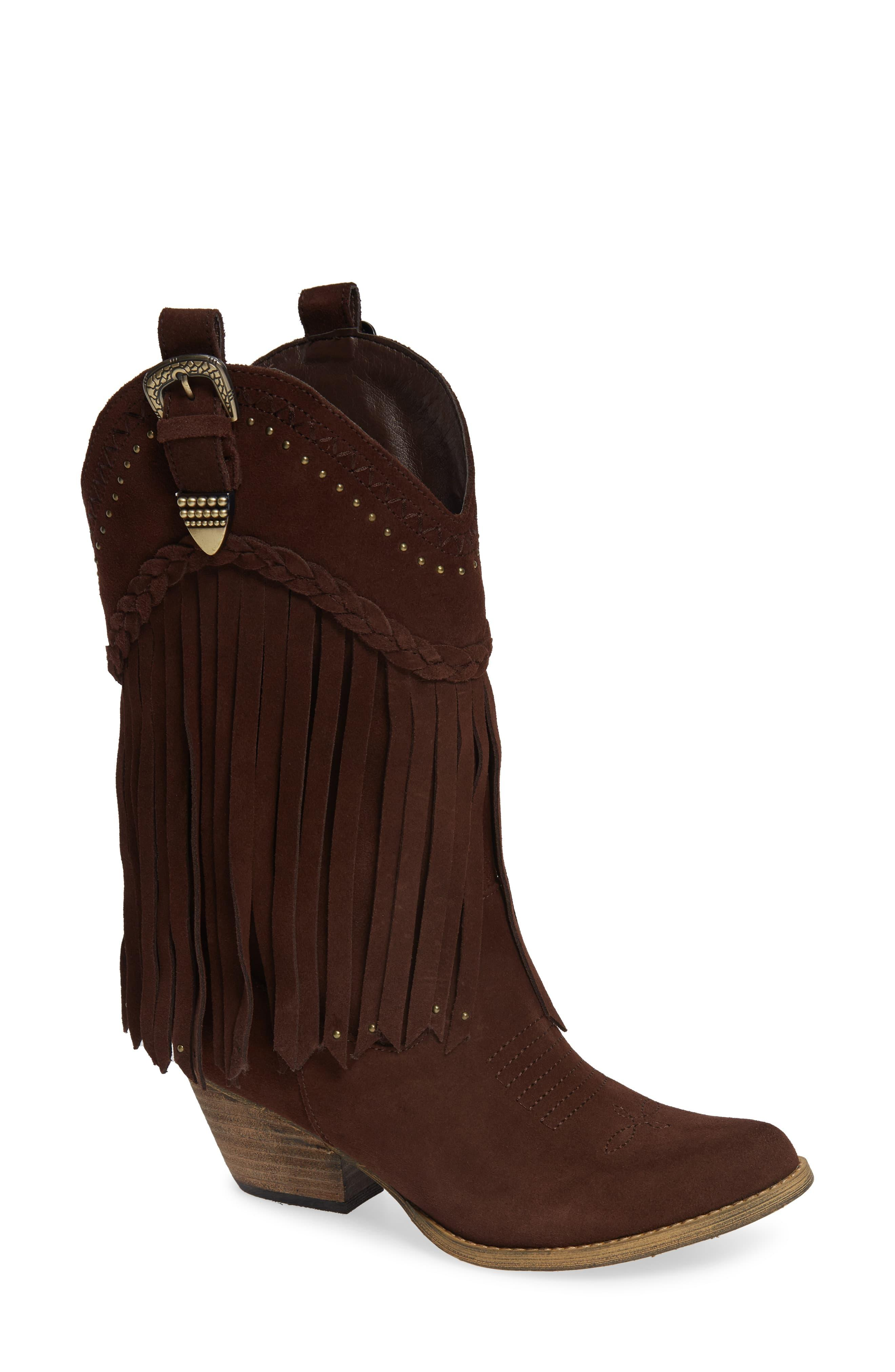 d3ae7213e1c Women's Brown Anderson Fringe Western Boot