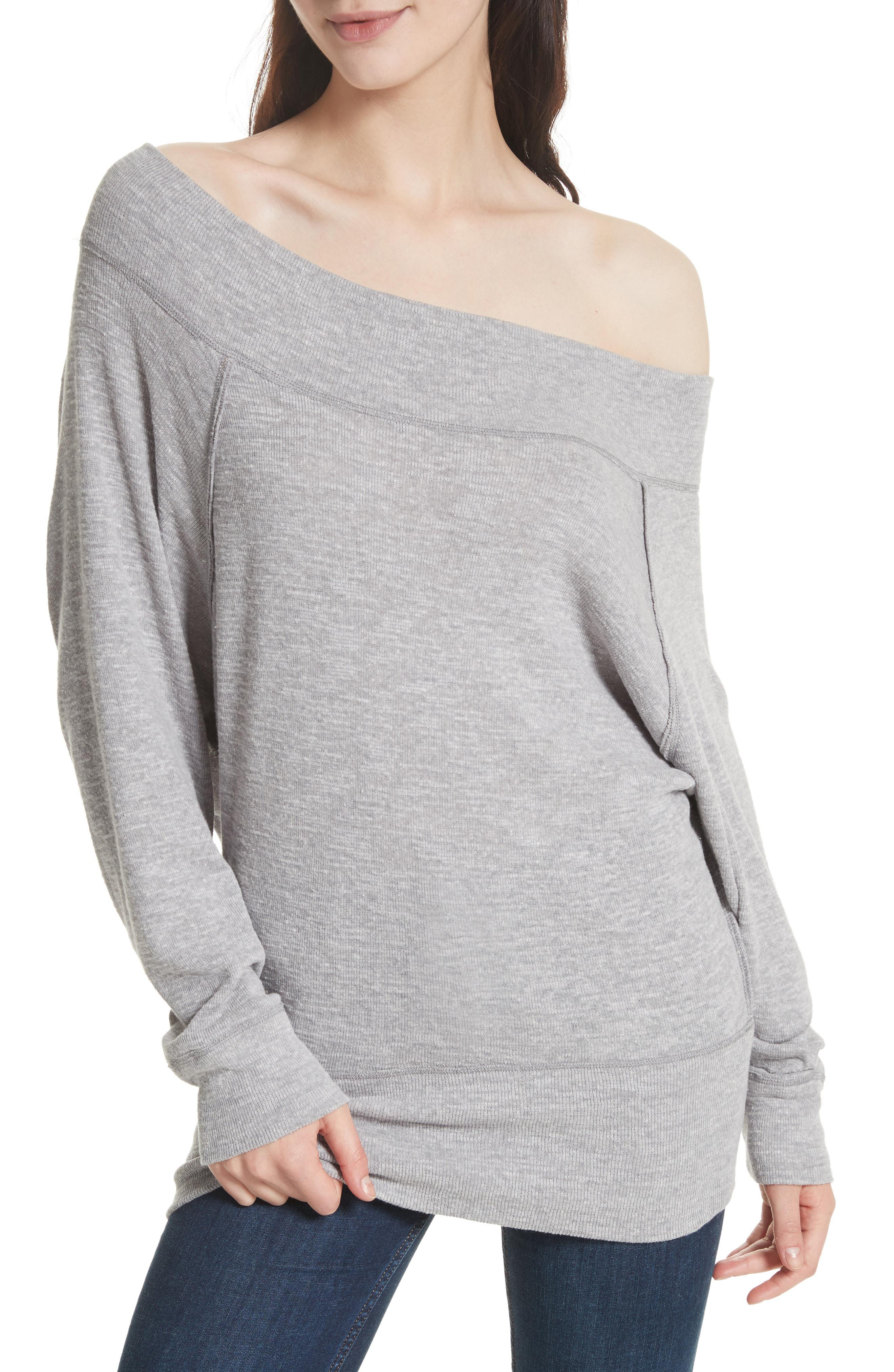 ce6848a0b2f Free People Palisades Off The Shoulder Top in Gray - Lyst