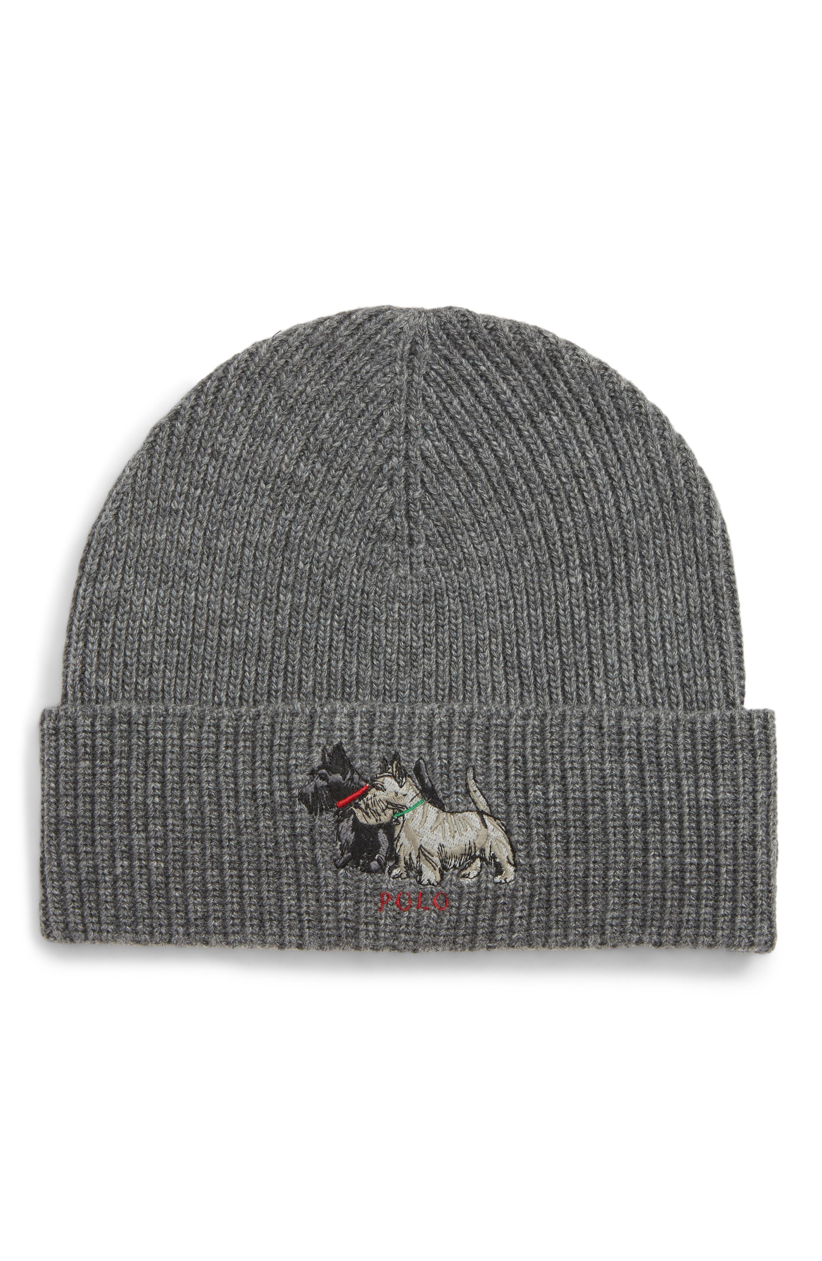 6dc175e59f496 Polo Ralph Lauren Embroidered Scottie Dogs Beanie in Gray for Men - Lyst