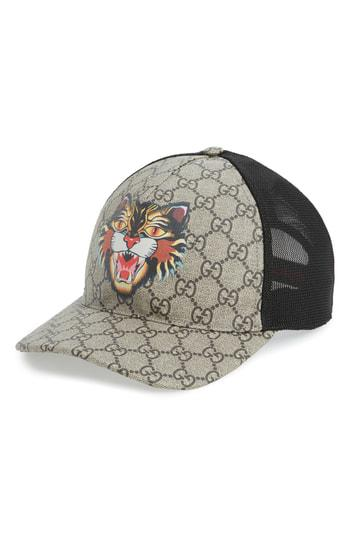 d827b775dc58f Lyst - Gucci Gg Supreme Angry Cat Trucker Hat in Black for Men