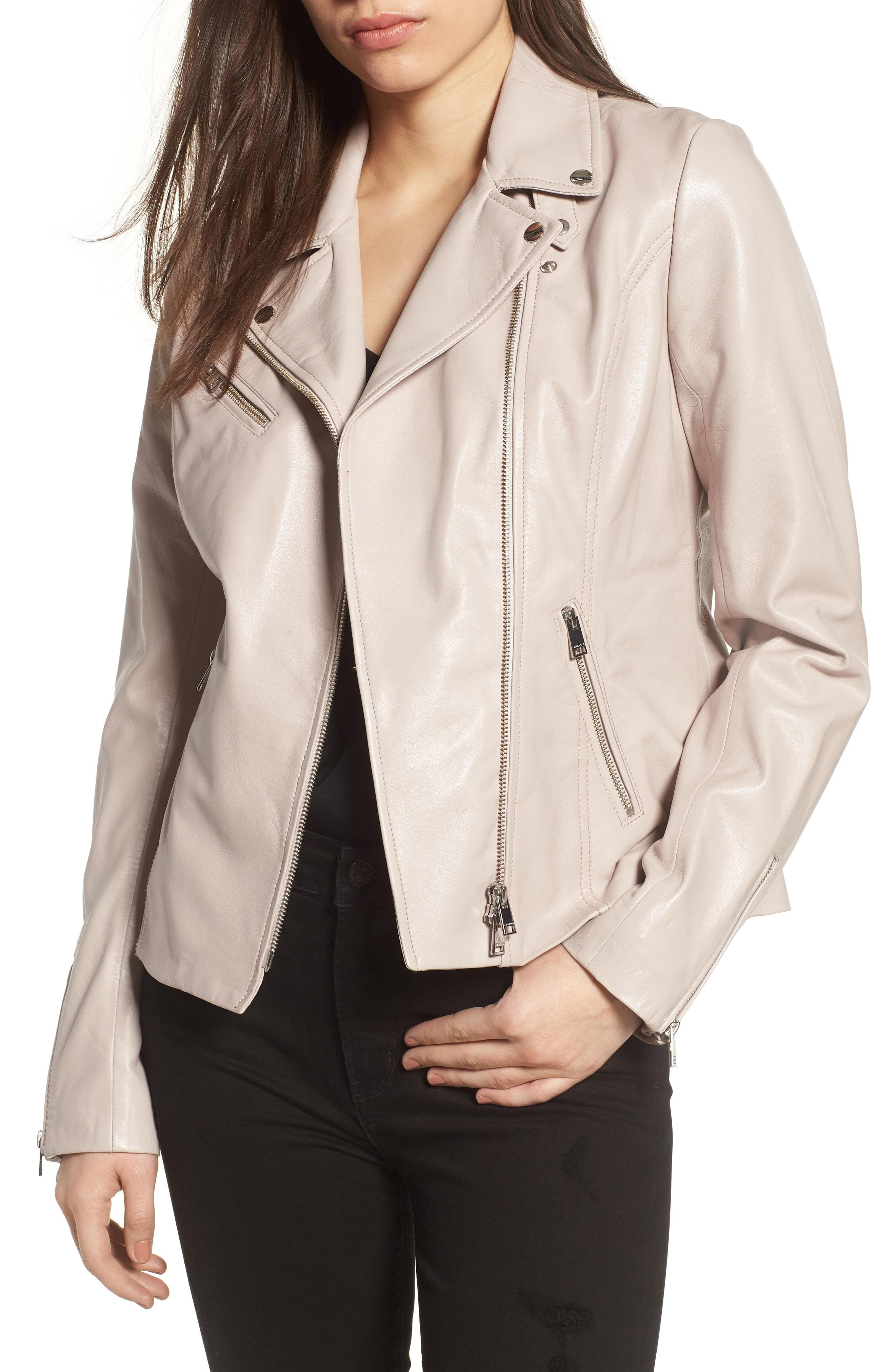 618f5e494 Lyst - Lamarque Asymmetrical Zip Leather Biker Jacket in Natural