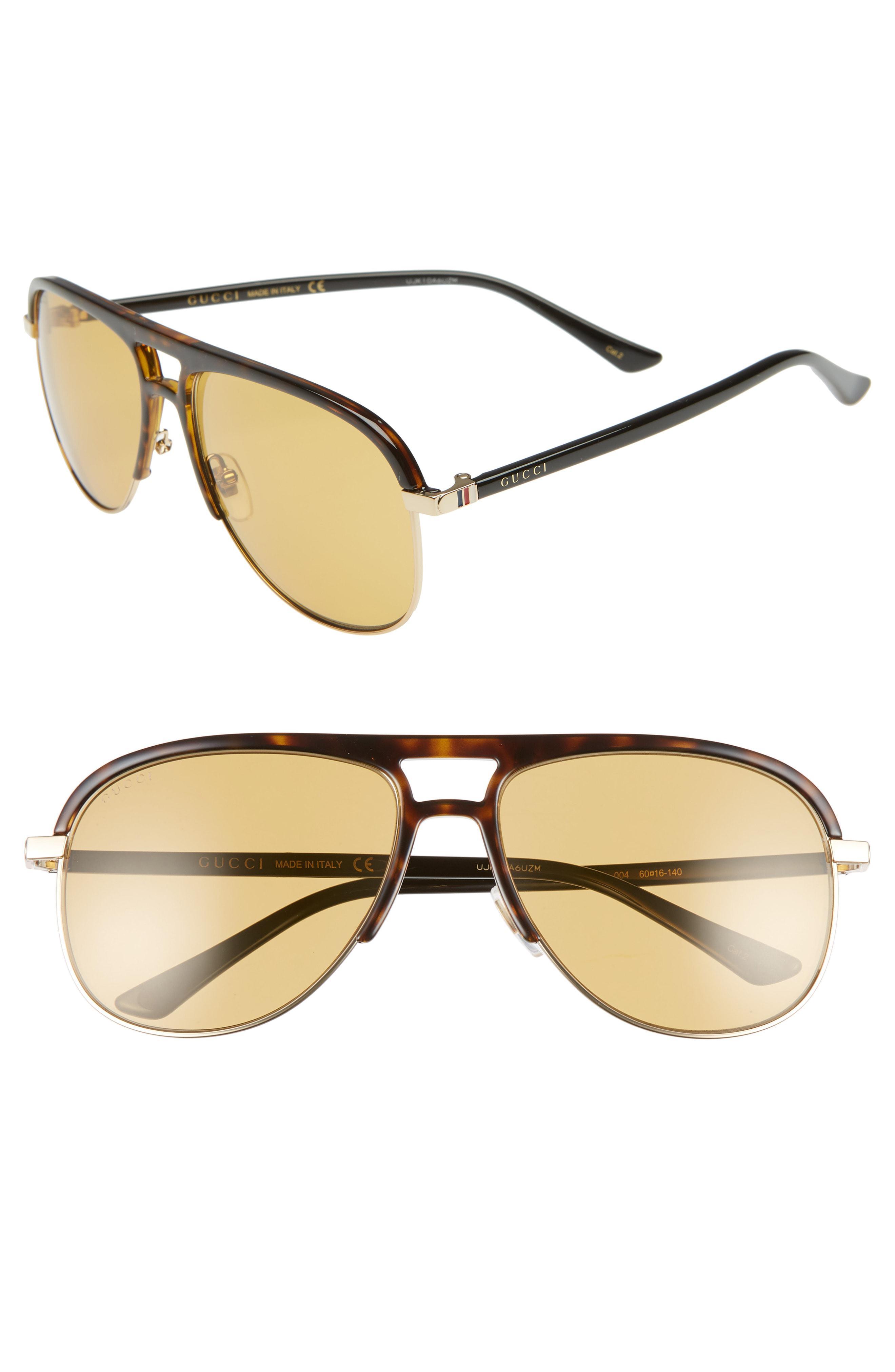 530fb4ea37c Lyst - Gucci 60mm Aviator Sunglasses - in Metallic for Men