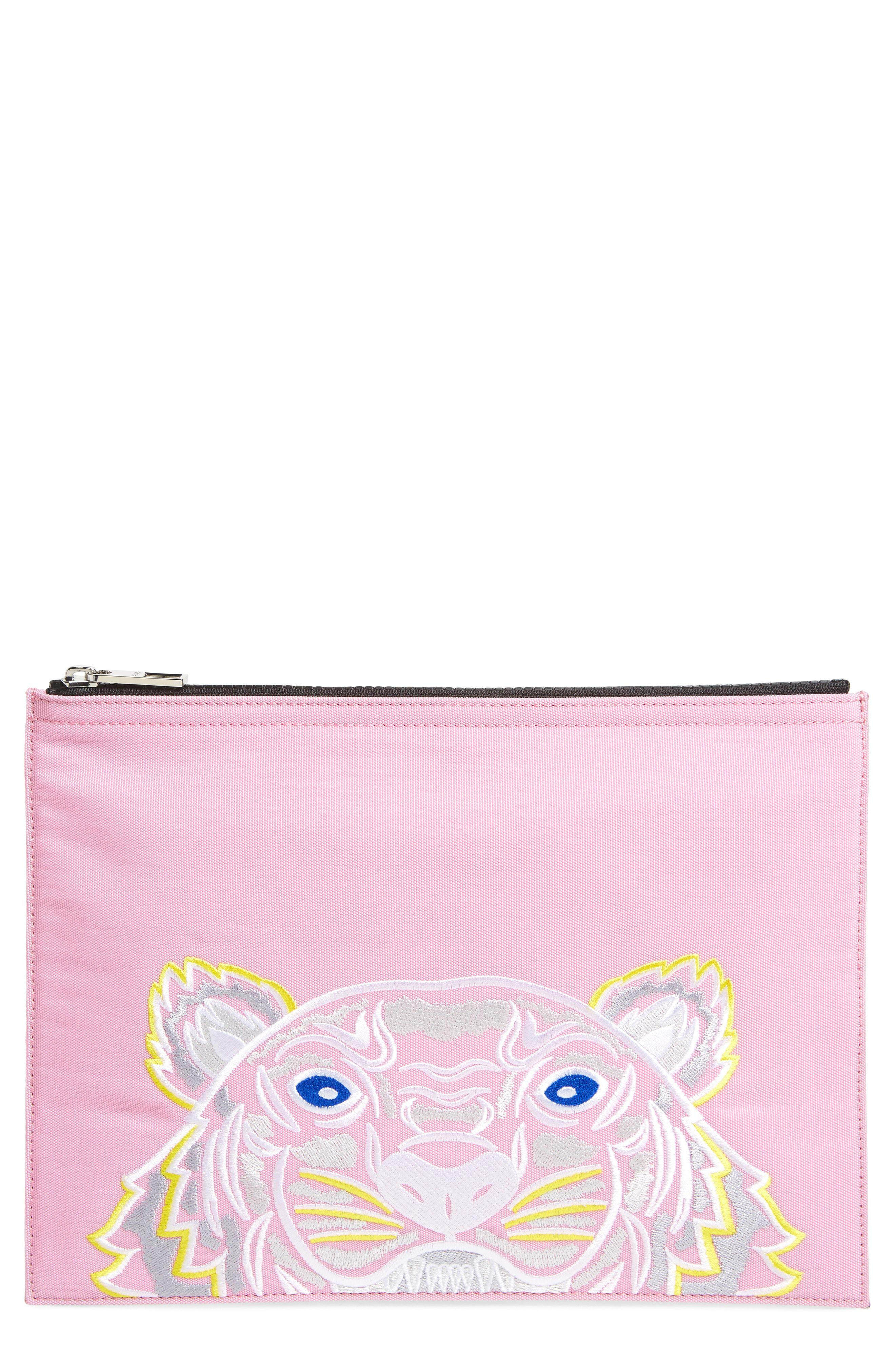 81ac3c7d1c4 Lyst - KENZO Kanvas Tiger Embroidered A4 Pouch in Pink