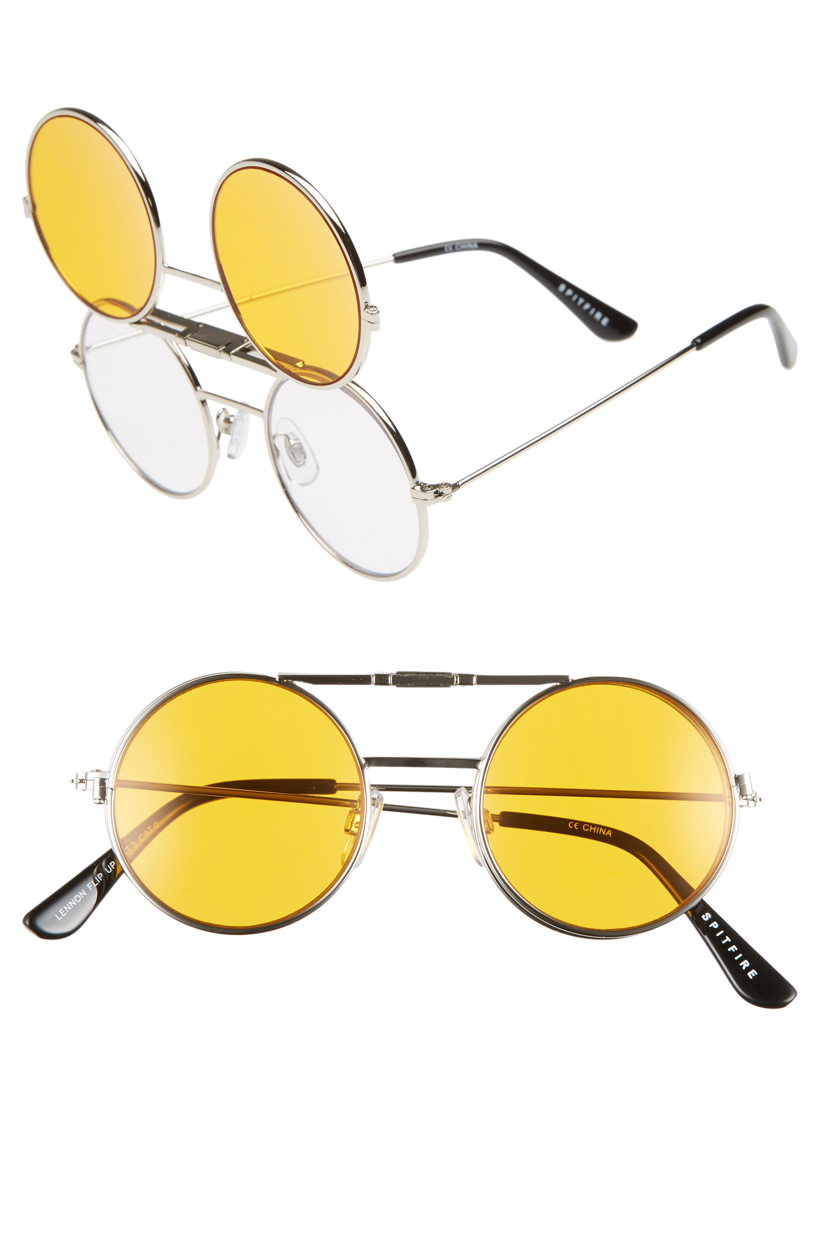 1a53415955 Lyst - Spitfire Lennon Flip 45mm Round Sunglasses - in Yellow