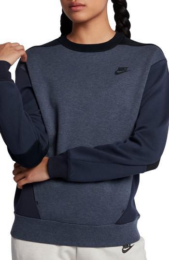 wholesale dealer b8484 21877 Lyst - Nike Sportswear Women s Tech Fleece Crew in Black