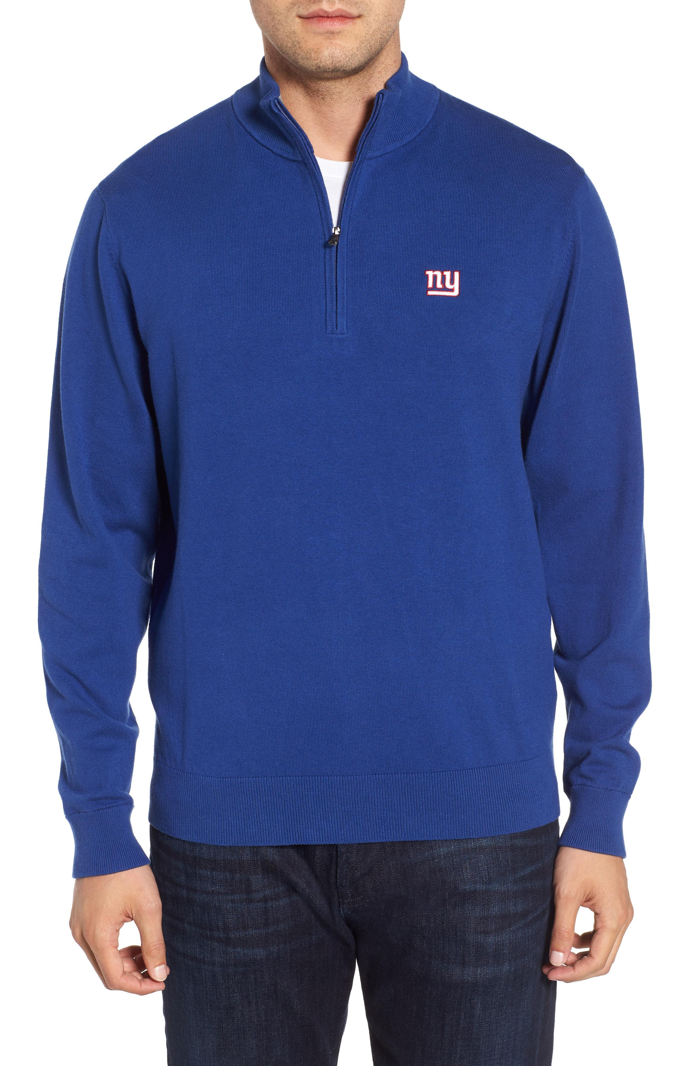Cutter   Buck. Men s Blue New York Giants - Lakemont Regular Fit Quarter  Zip Sweater 647c5a74b