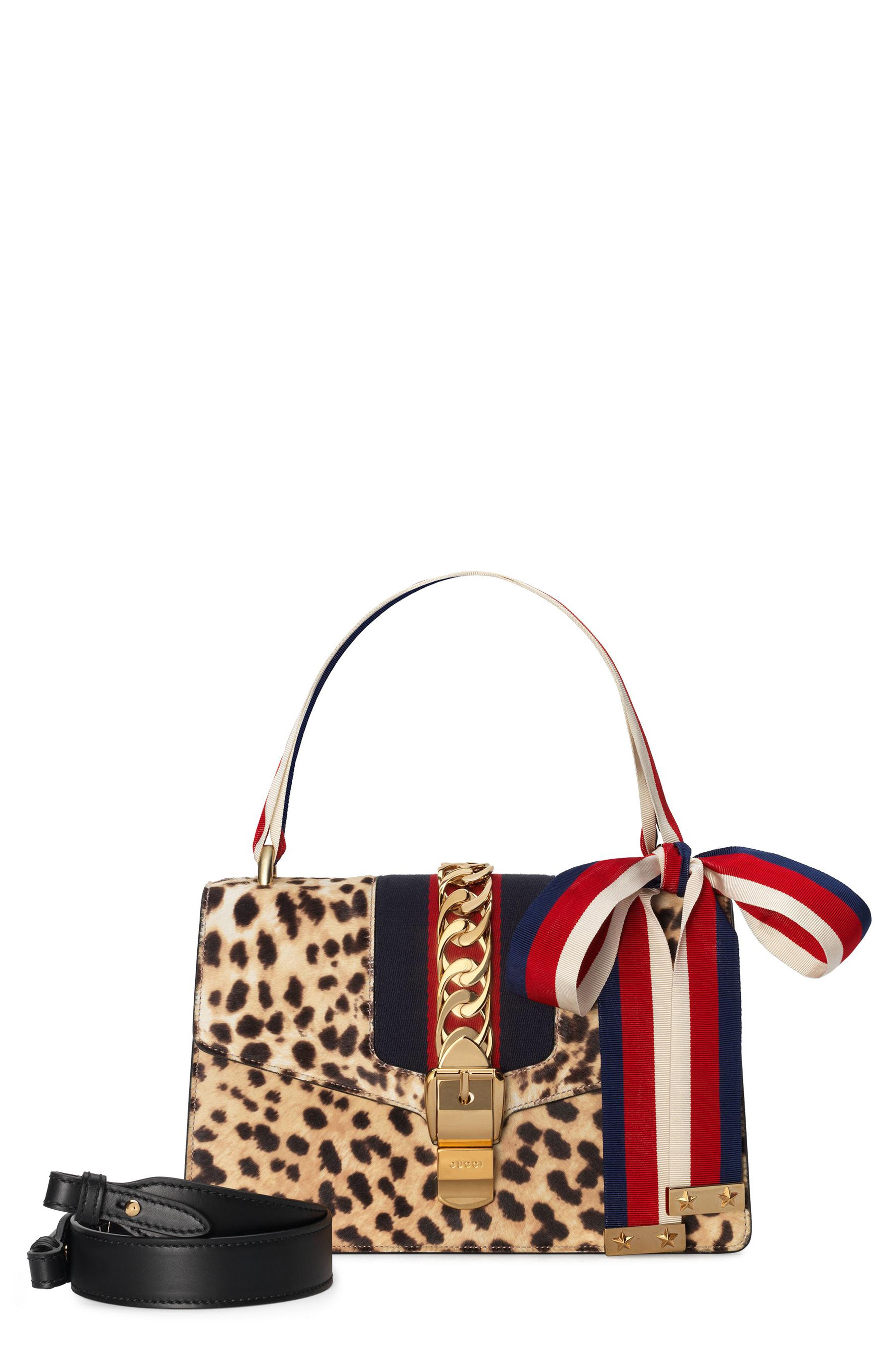 cd9dd42f2f4fa4 Gucci Small Sylvie Genuine Calf Hair Top Handle Bag in Natural - Lyst