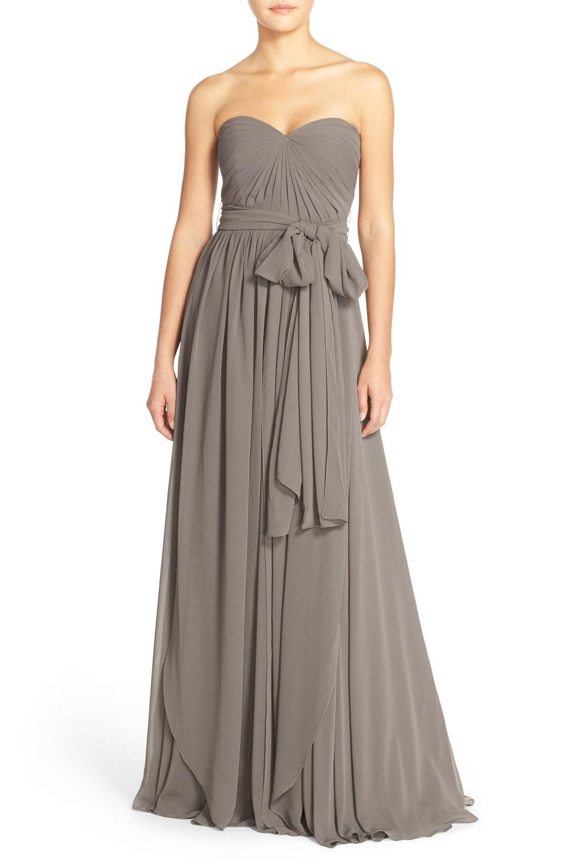 4ef37fb79d27 Jenny Yoo Mira Convertible Strapless Chiffon Gown in Gray - Lyst