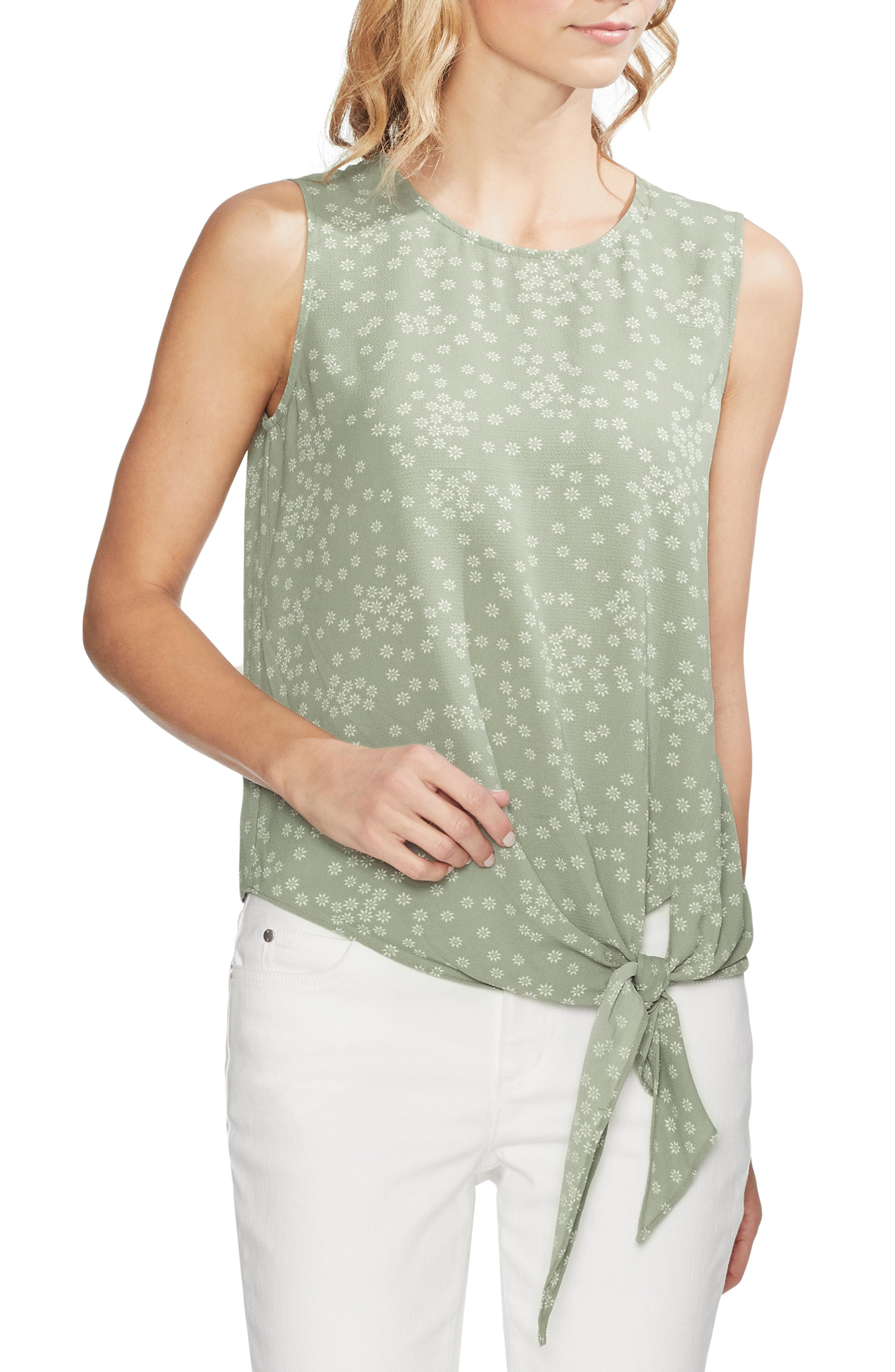 540172265bd3 Lyst - Vince Camuto Ditsy Showers Tie Front Blouse in Green