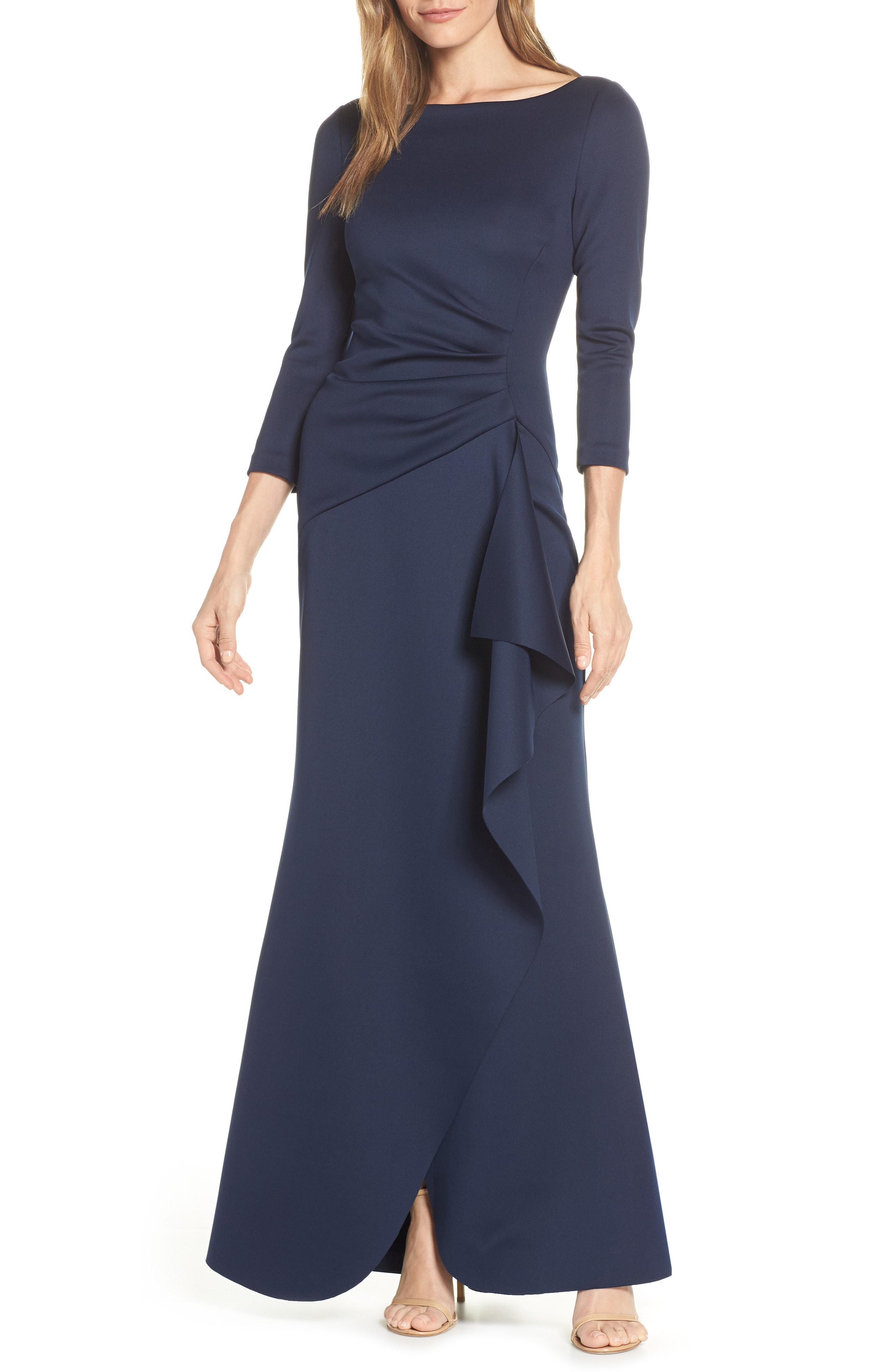 1e9df9e0a33c Eliza J Techno Scuba Pleat Evening Dress in Blue - Lyst