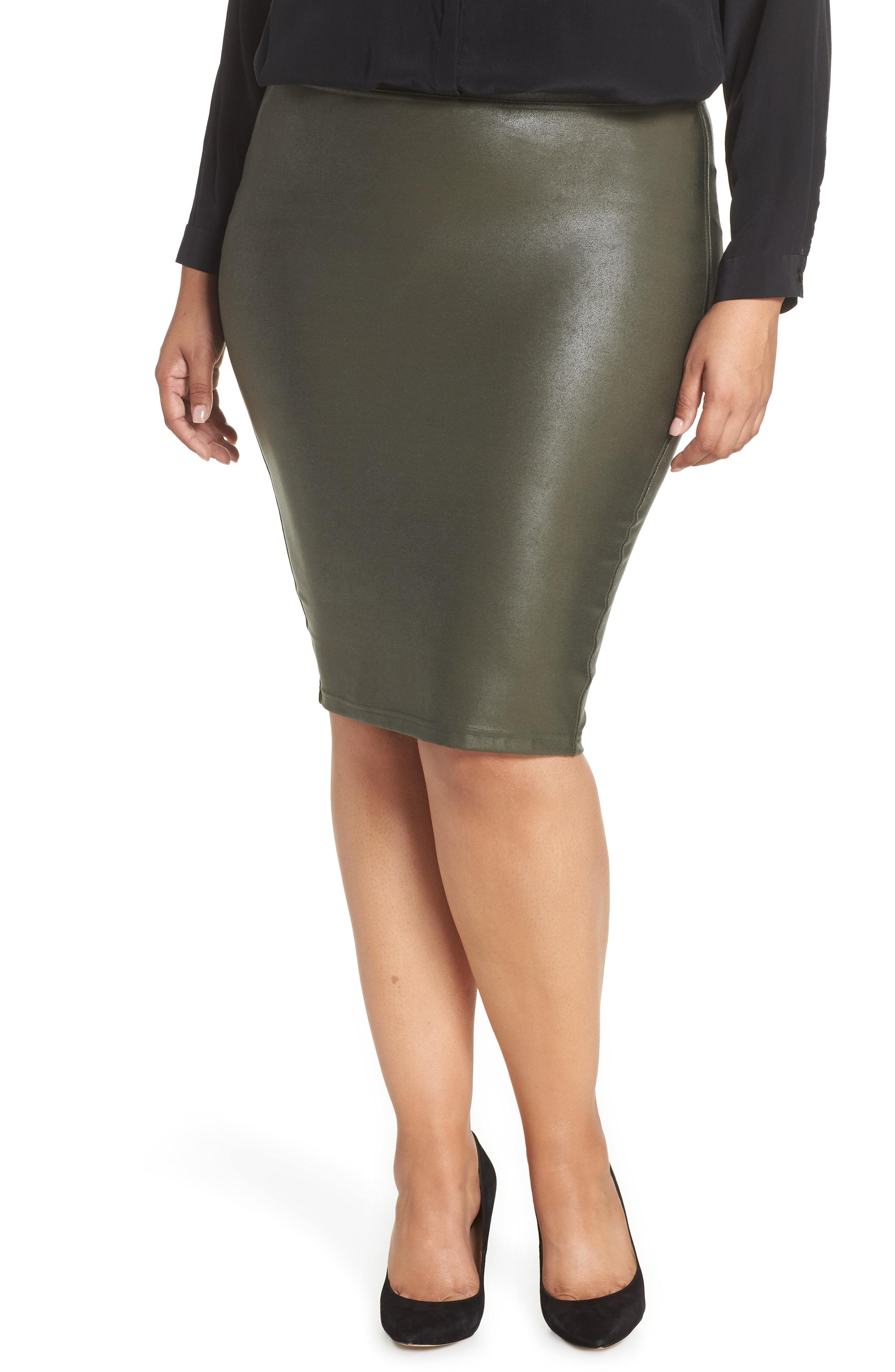 7646ab4b05 Green Faux Leather Pencil Skirt