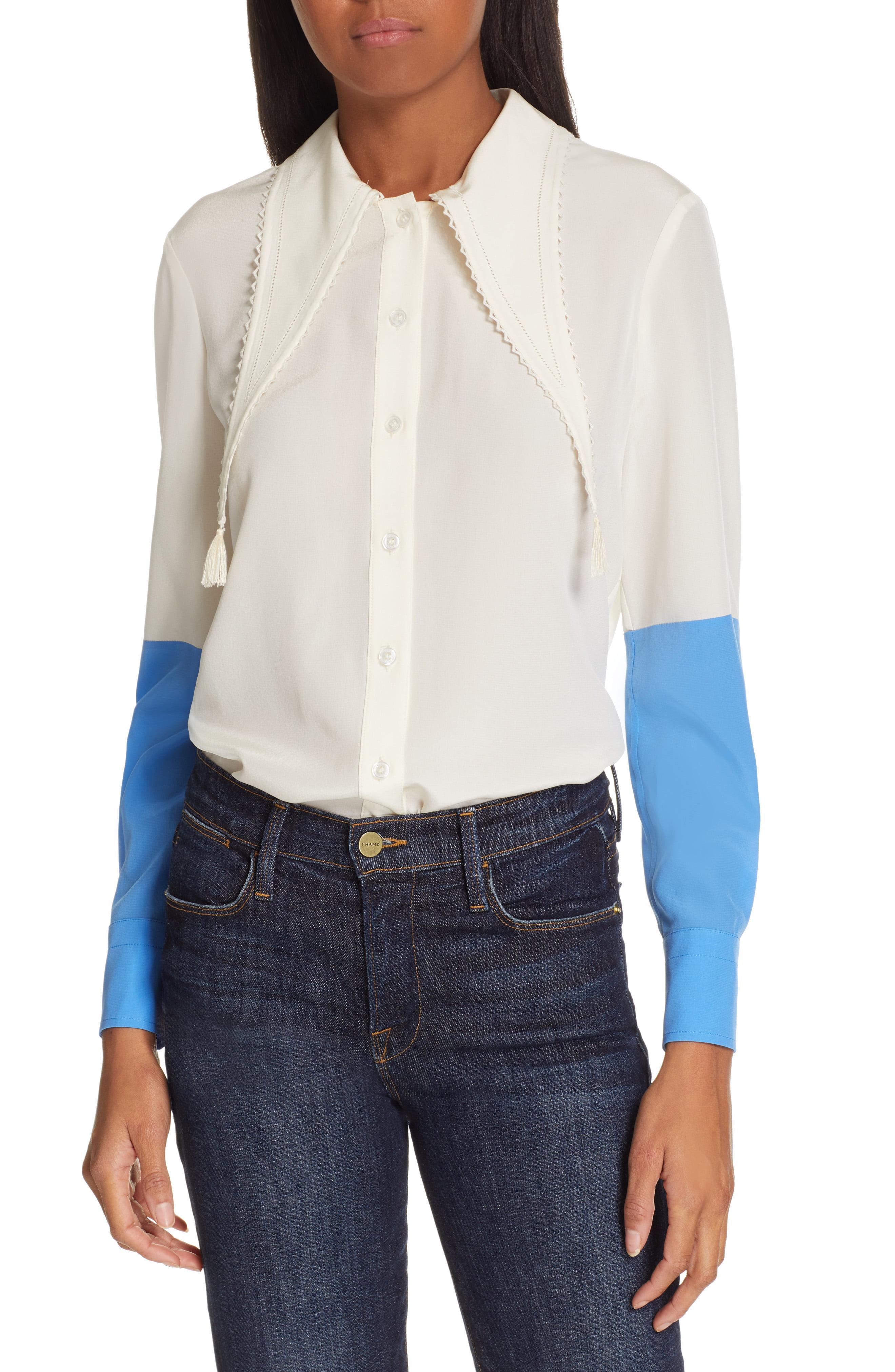 a2675beedcffc Lyst - Tory Burch Tassel Collar Silk Blouse in Blue