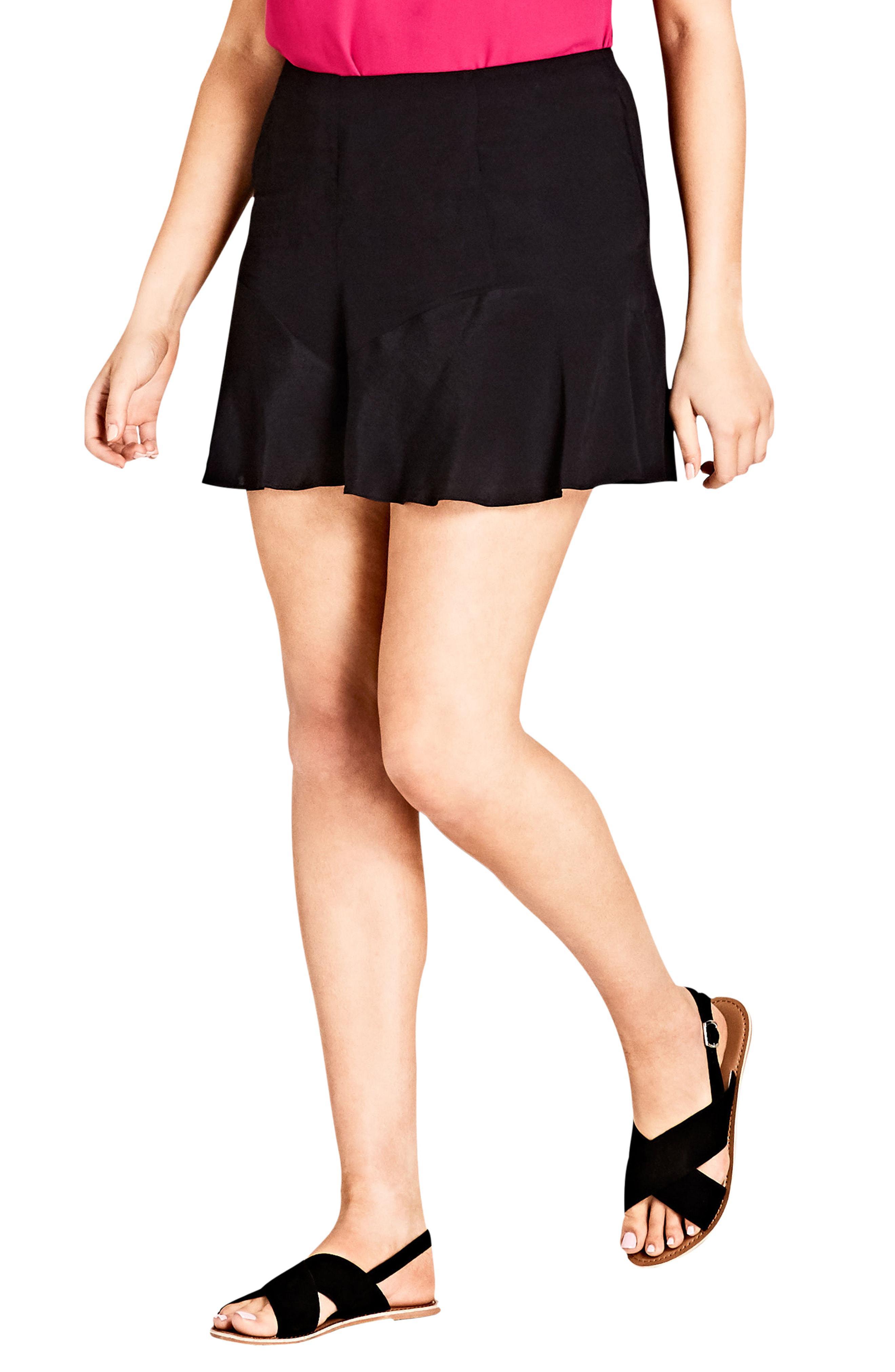 58e994f2707 Lyst - City Chic High Rise Ruffle Hem Shorts in Black - Save ...