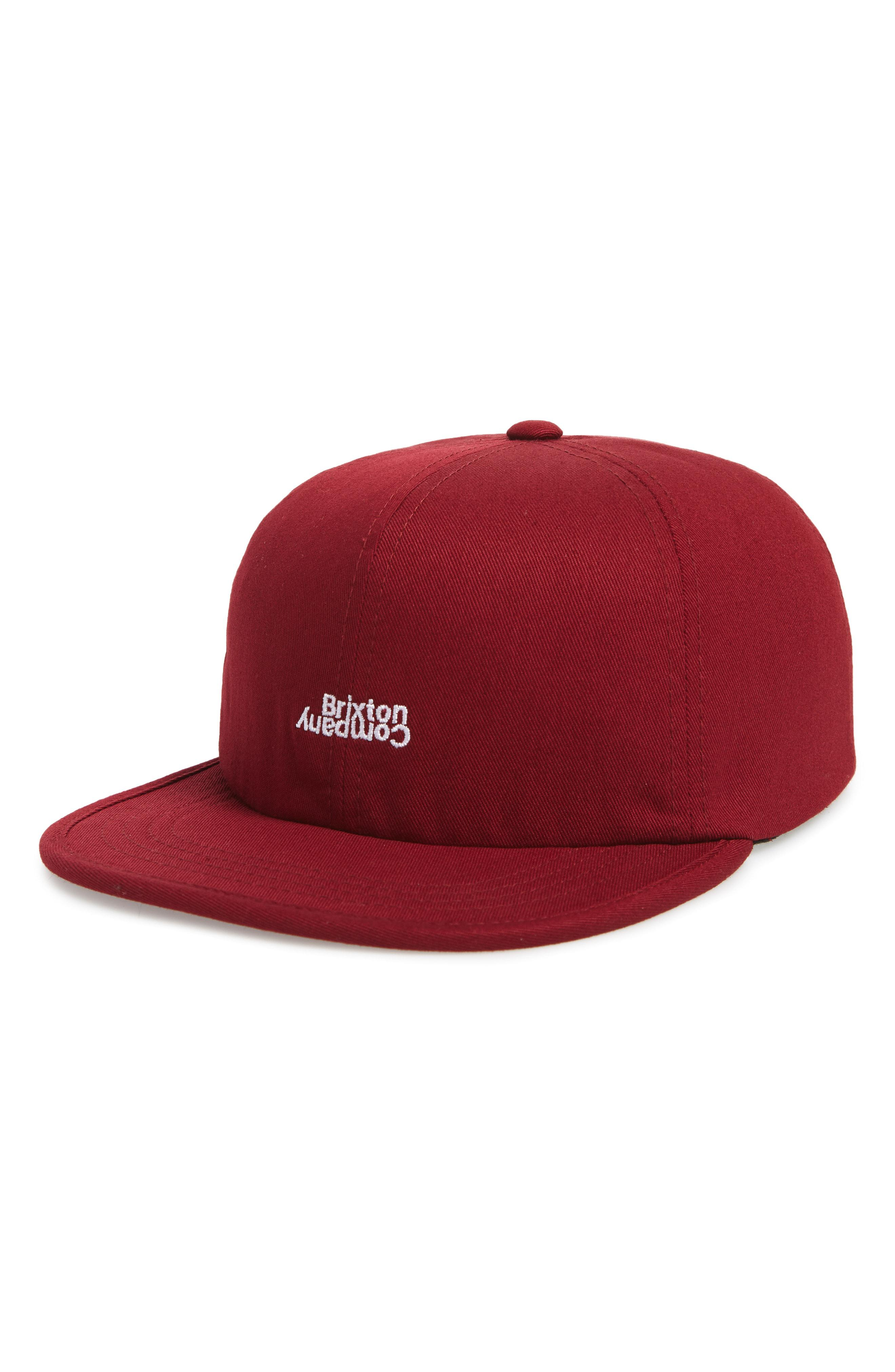 Lyst - Brixton Revert Embroidered Logo Cap in Red for Men 1089260a834b