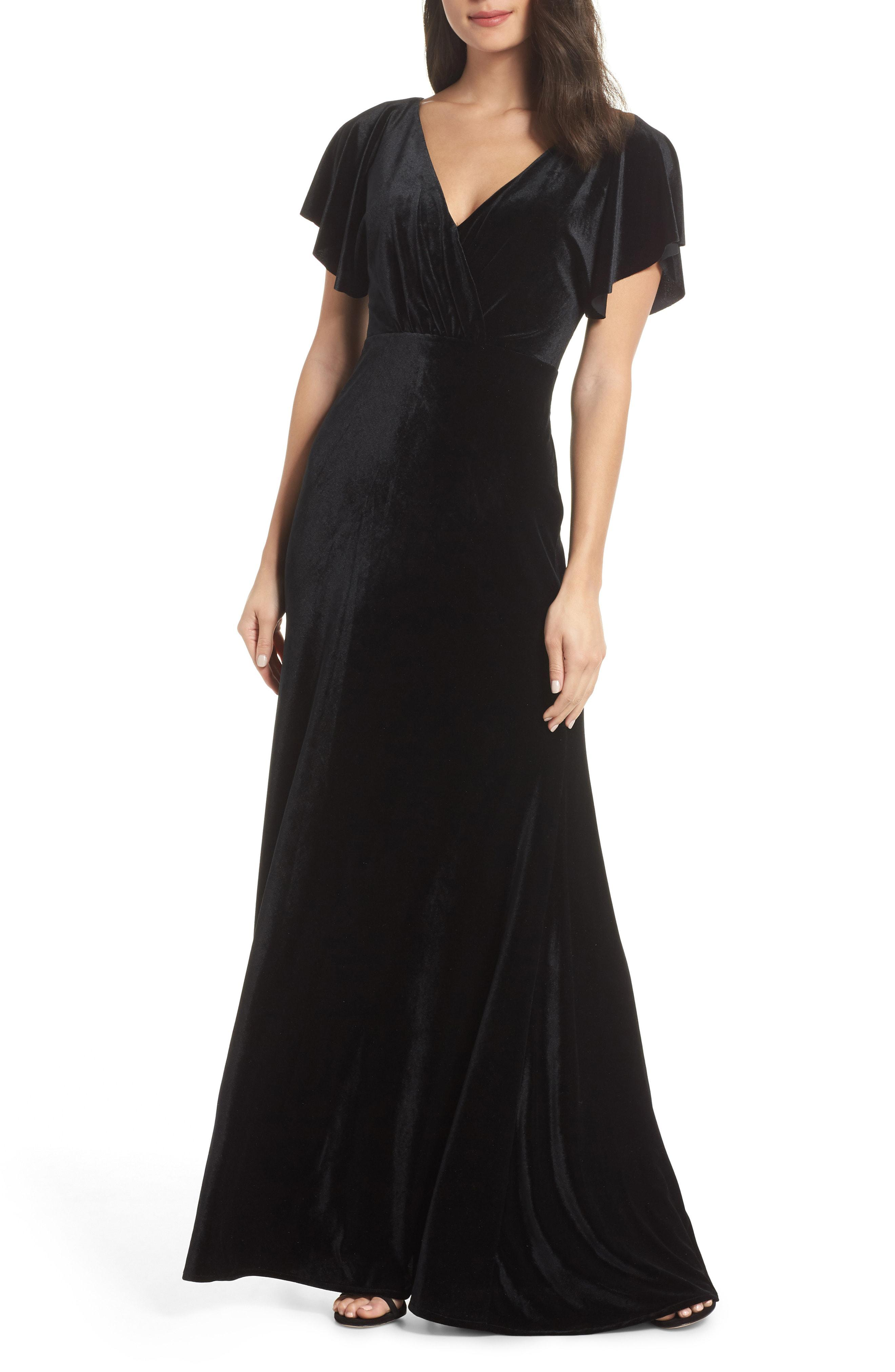 47eaa13848f Lyst - Jenny Yoo Ellis Flutter Sleeve Stretch Velvet Gown in Black