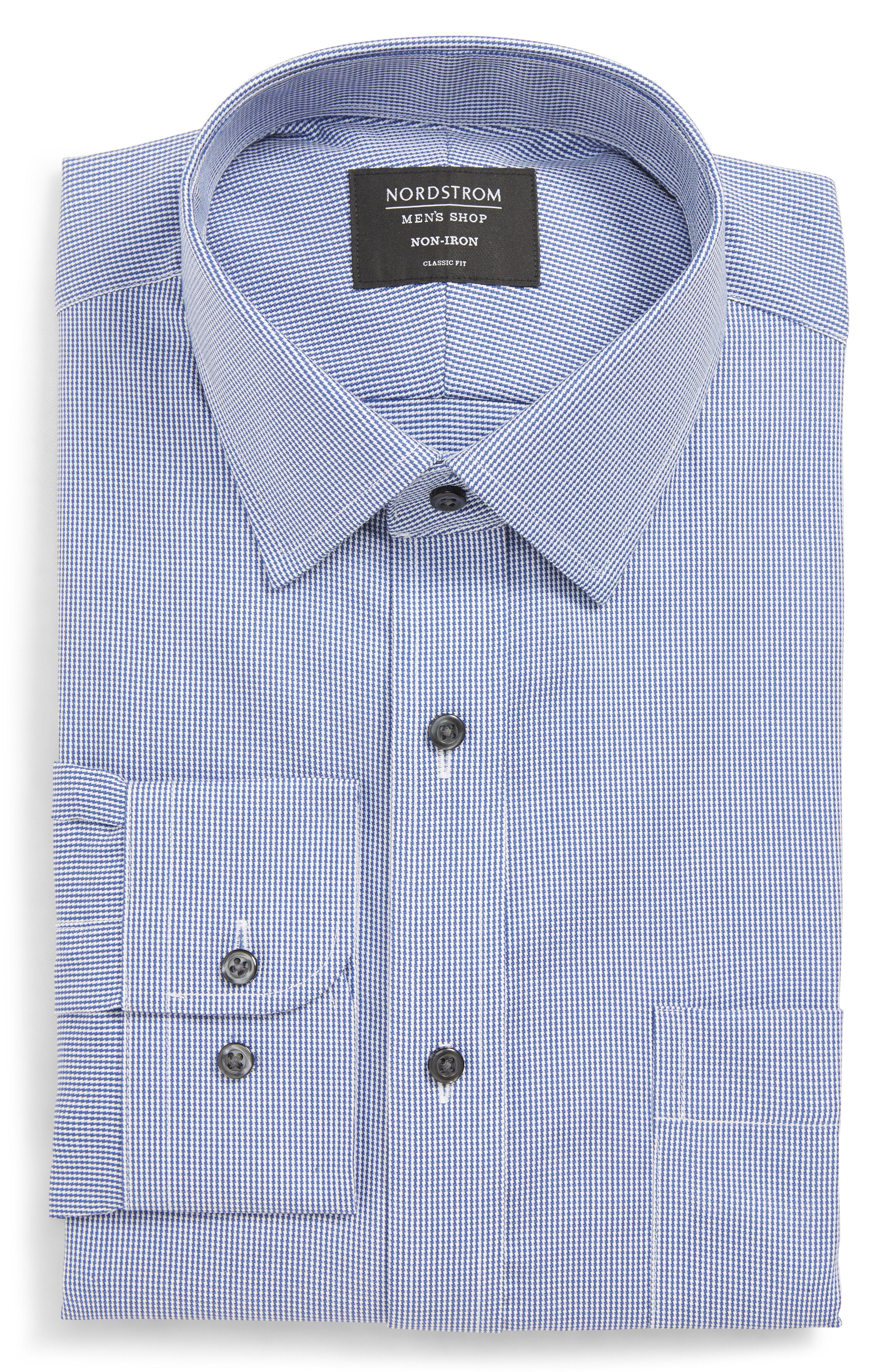 096b698f6b32a Nordstrom - Blue Traditional Fit Non-iron Solid Dress Shirt for Men - Lyst.  View fullscreen