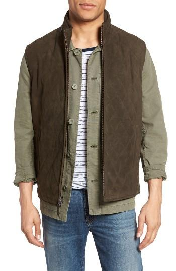 Golden Bear Diamond Quilted Suede Vest In Green For Men Lyst