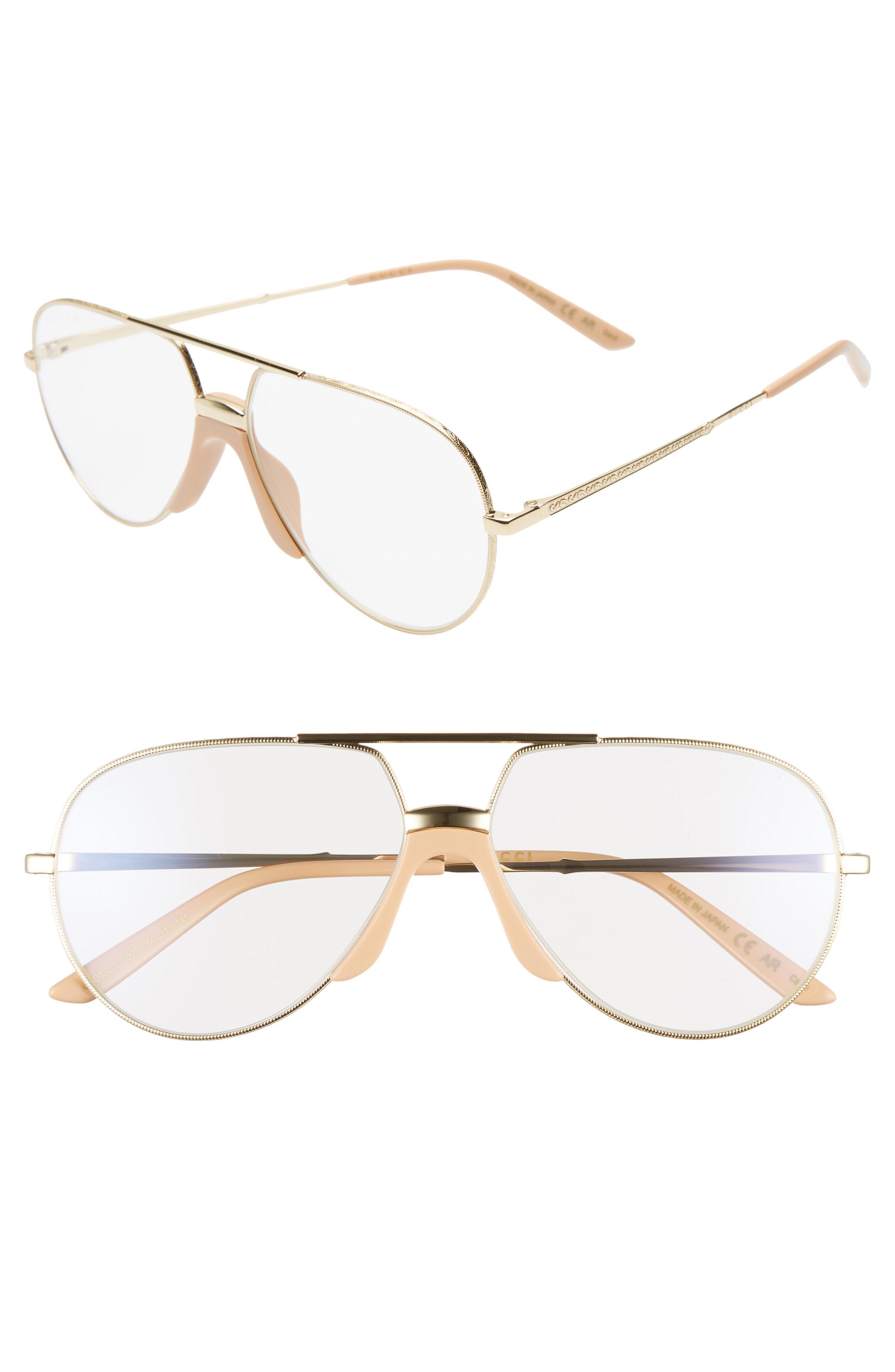 0ad22830eb1 Gucci. Women s 60mm Antireflective Aviator Sunglasses -