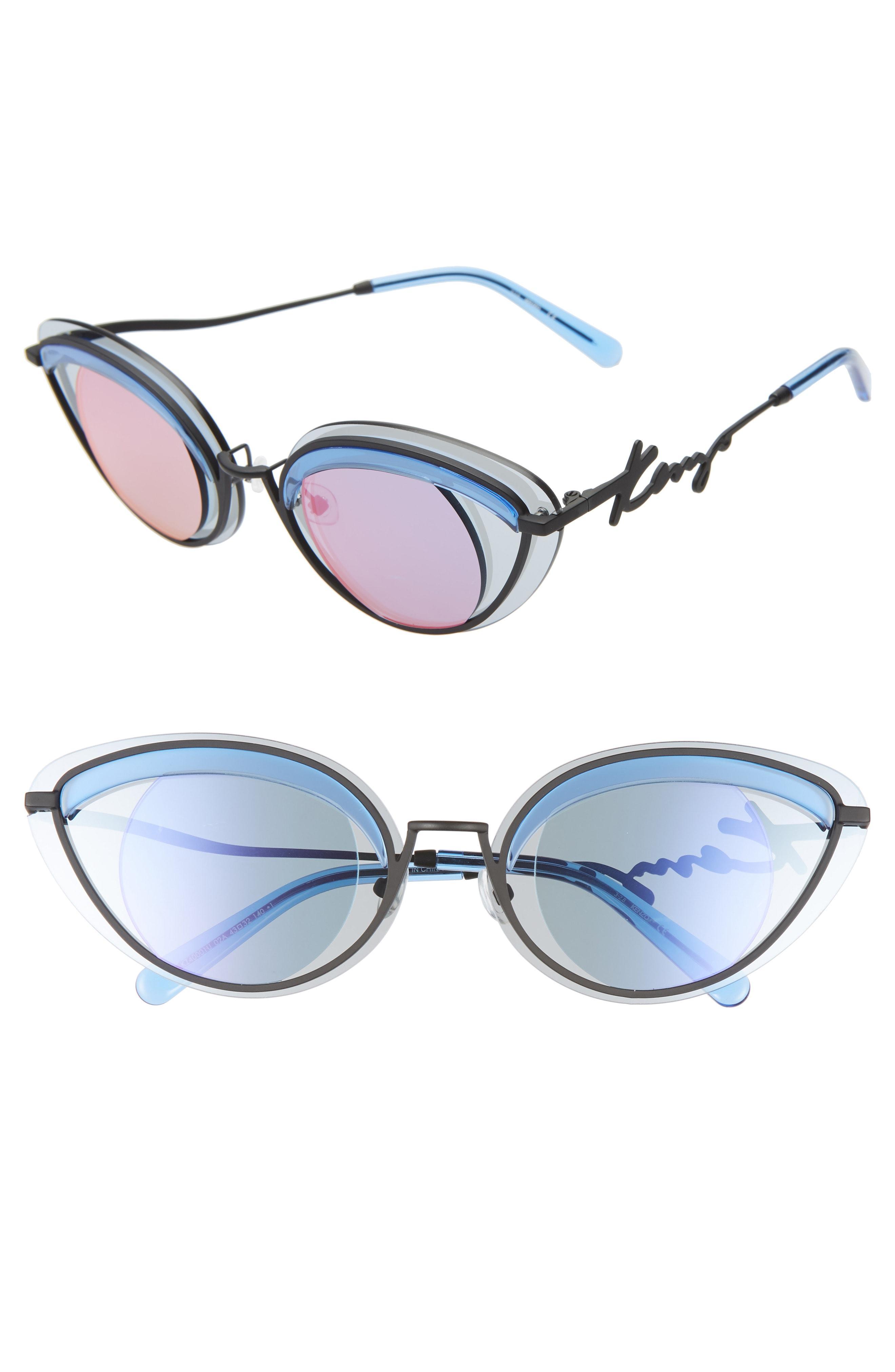 95e67e14da Lyst - KENZO 43mm Cat Eye Sunglasses - in Blue