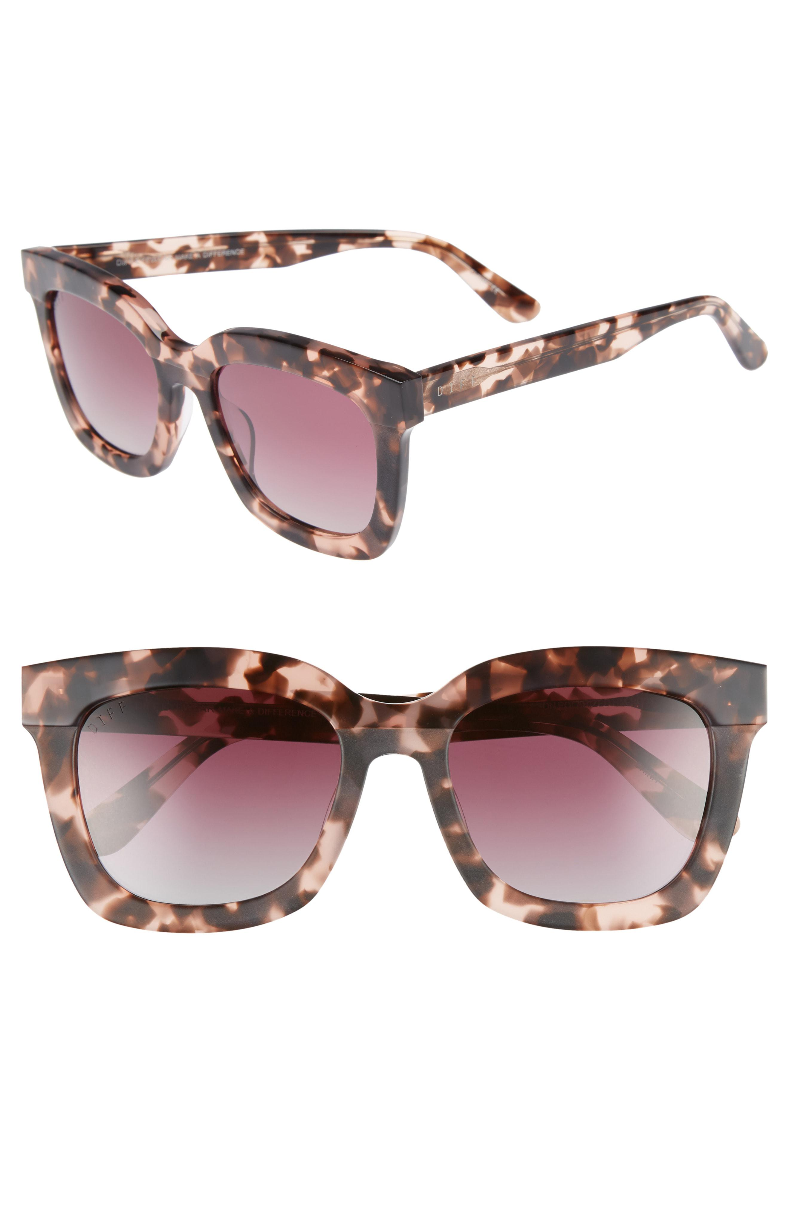16b6b462b9 DIFF. Women s Pink Carson 53mm Polarized Square Sunglasses - Himalayan  Tortoise  Rose