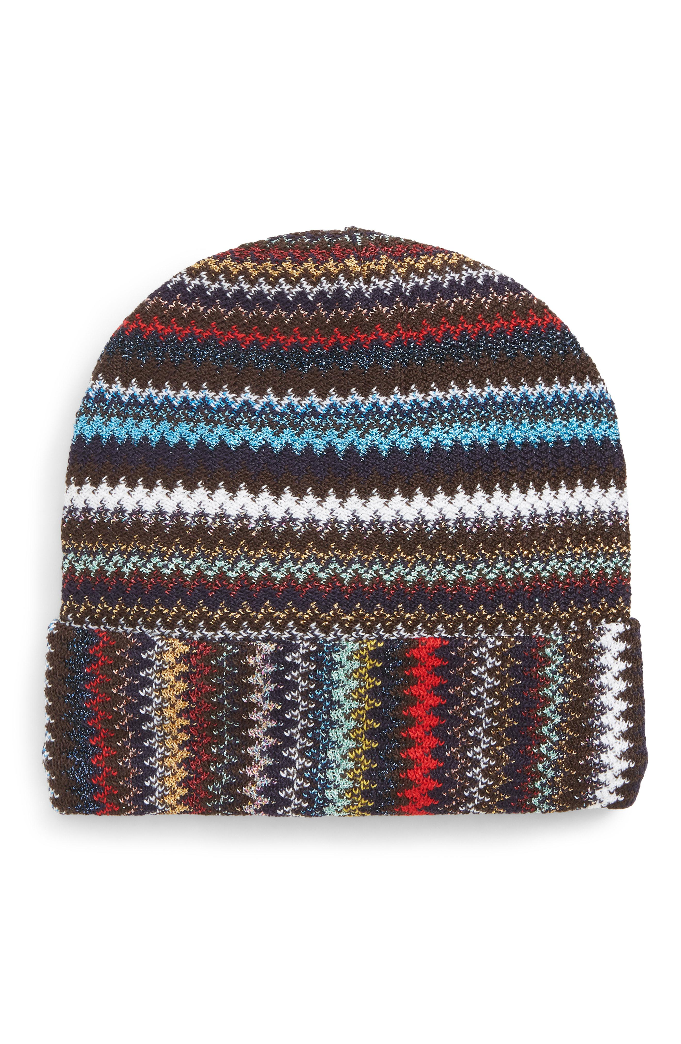 41550a8447d Missoni - Red Zigzag Sparkle Beanie - - Lyst. View fullscreen