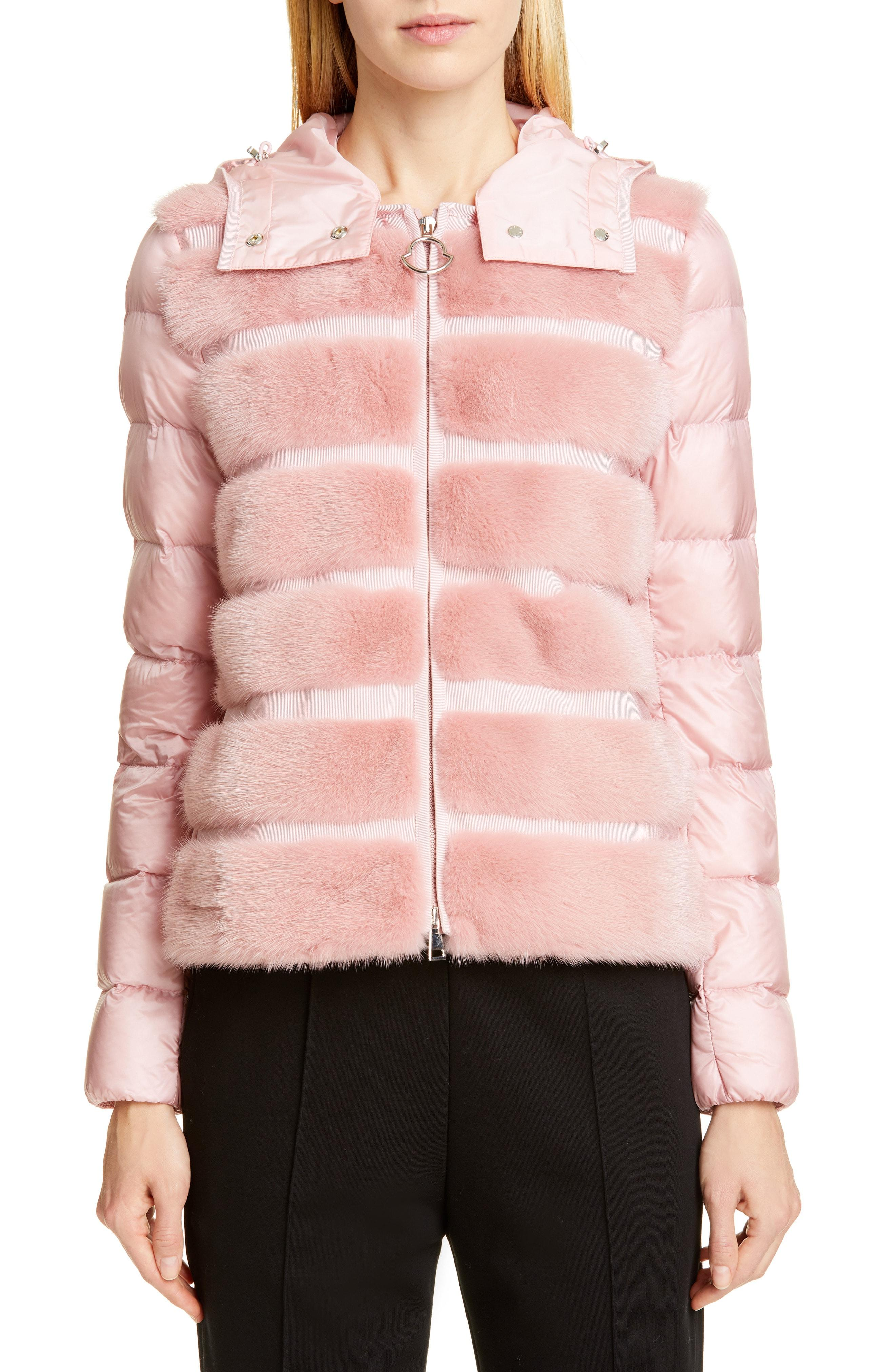 69ebed850 Lyst - Moncler Riga Quilted Down Jacket With Genuine Mink Fur Trim ...